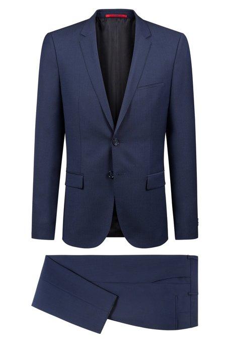 0236630f9c03 Extra Slim-Fit Anzug aus Schurwolle mit Web-Dessin, Dunkelblau