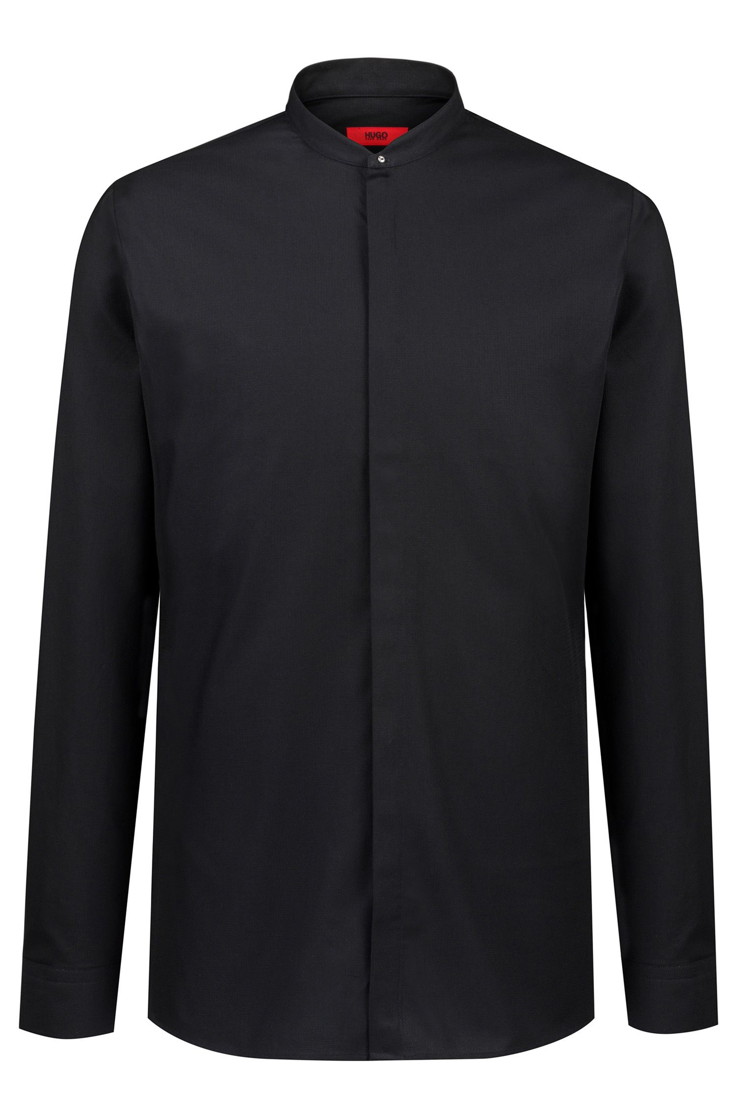 Extra-slim-fit patterned shirt with concealed placket, Black