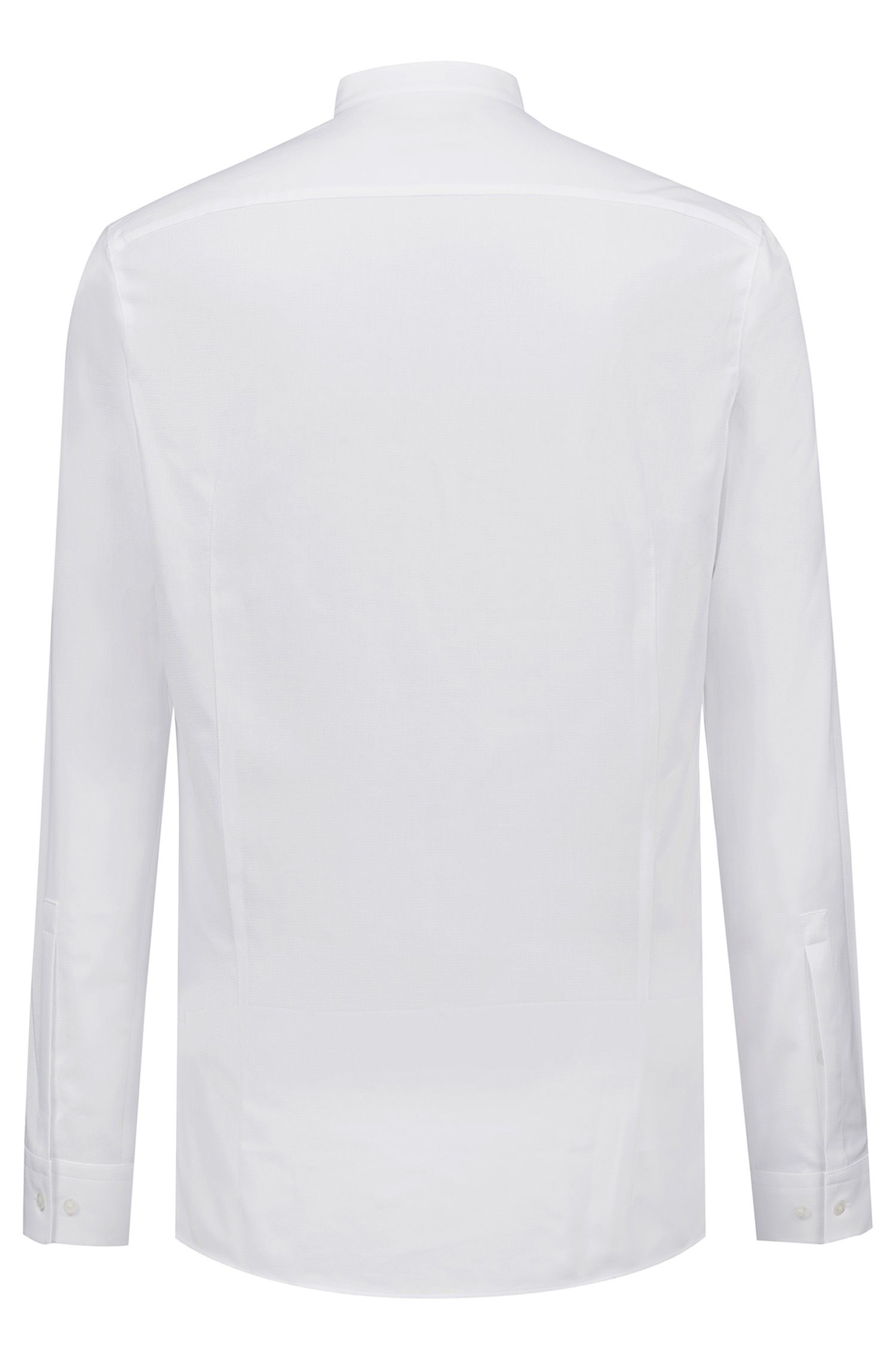 Extra-slim-fit patterned shirt with concealed placket, Open White