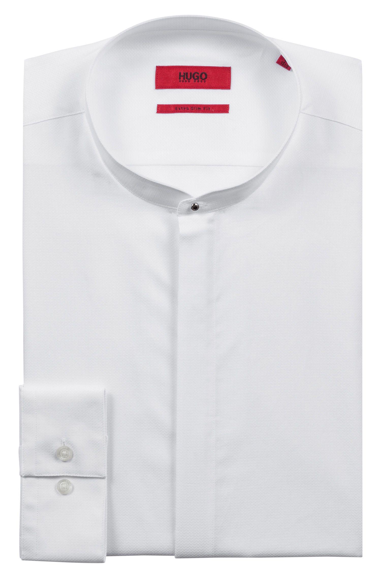Extra slim-fit overhemd met dessin en verdekte knoopsluiting