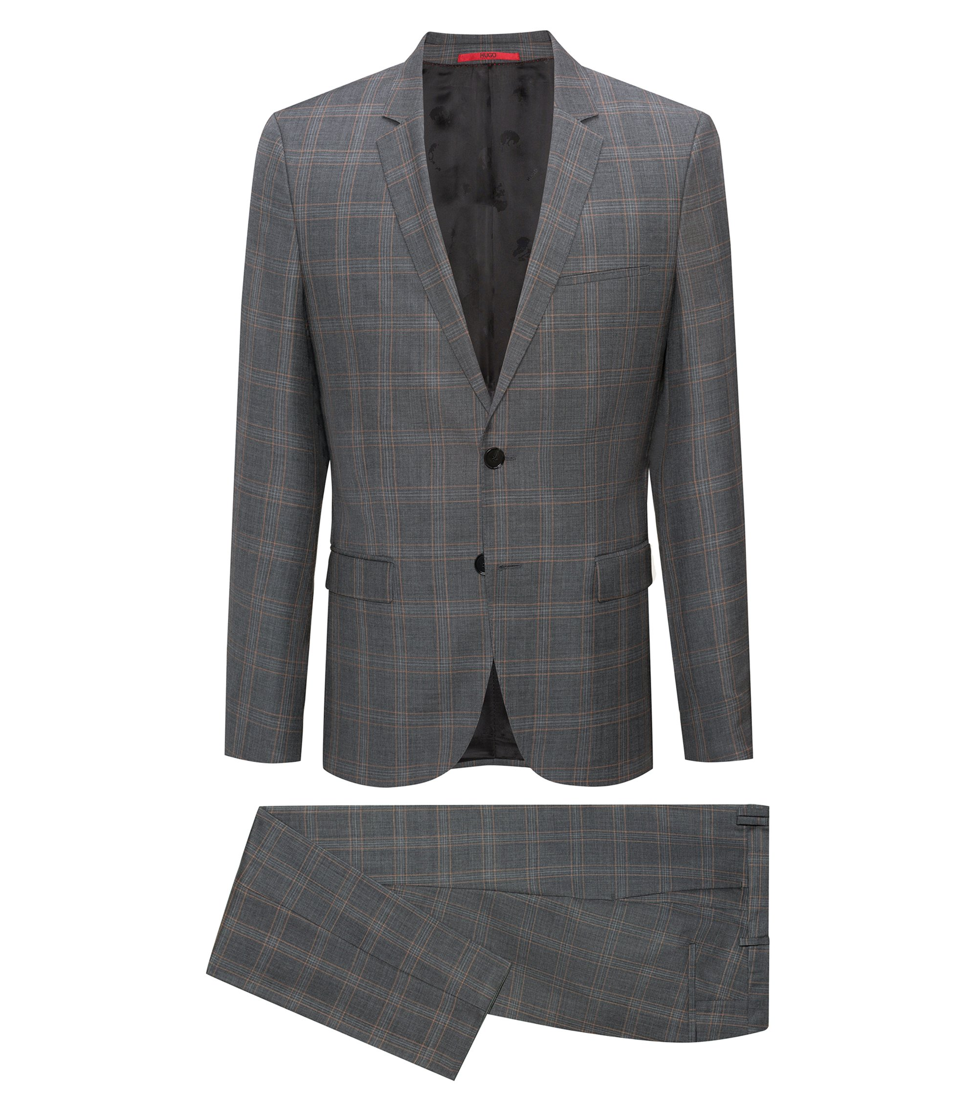 Extra-slim-fit virgin-wool suit in check pattern, Grey