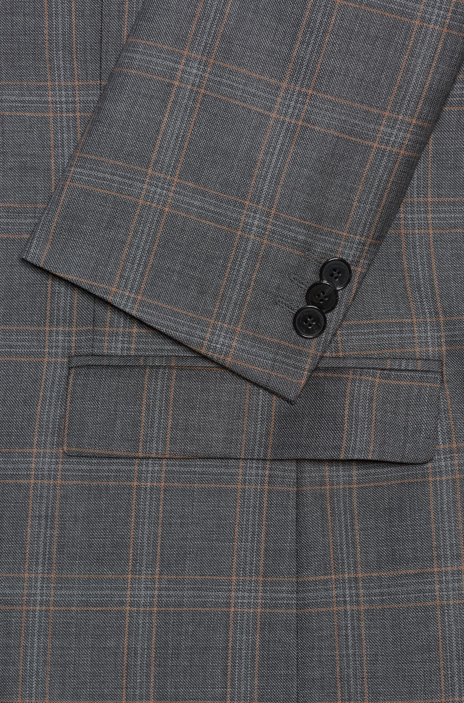 Extra-slim-fit virgin-wool suit in check pattern