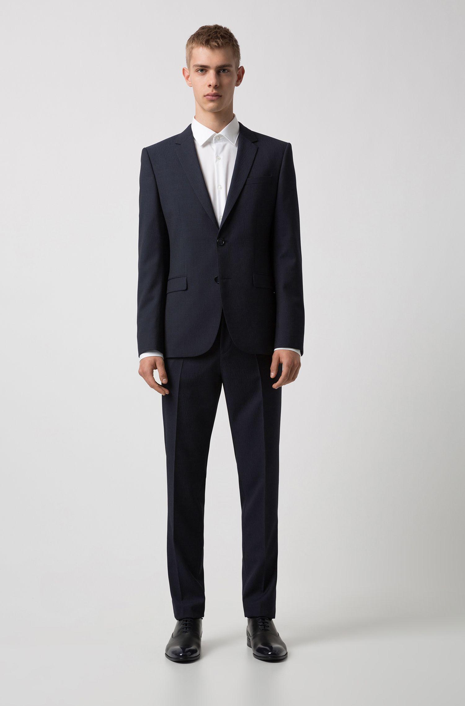 Chemise Slim Fit en popeline de coton, avec détails contrastants à l'intérieur, Blanc