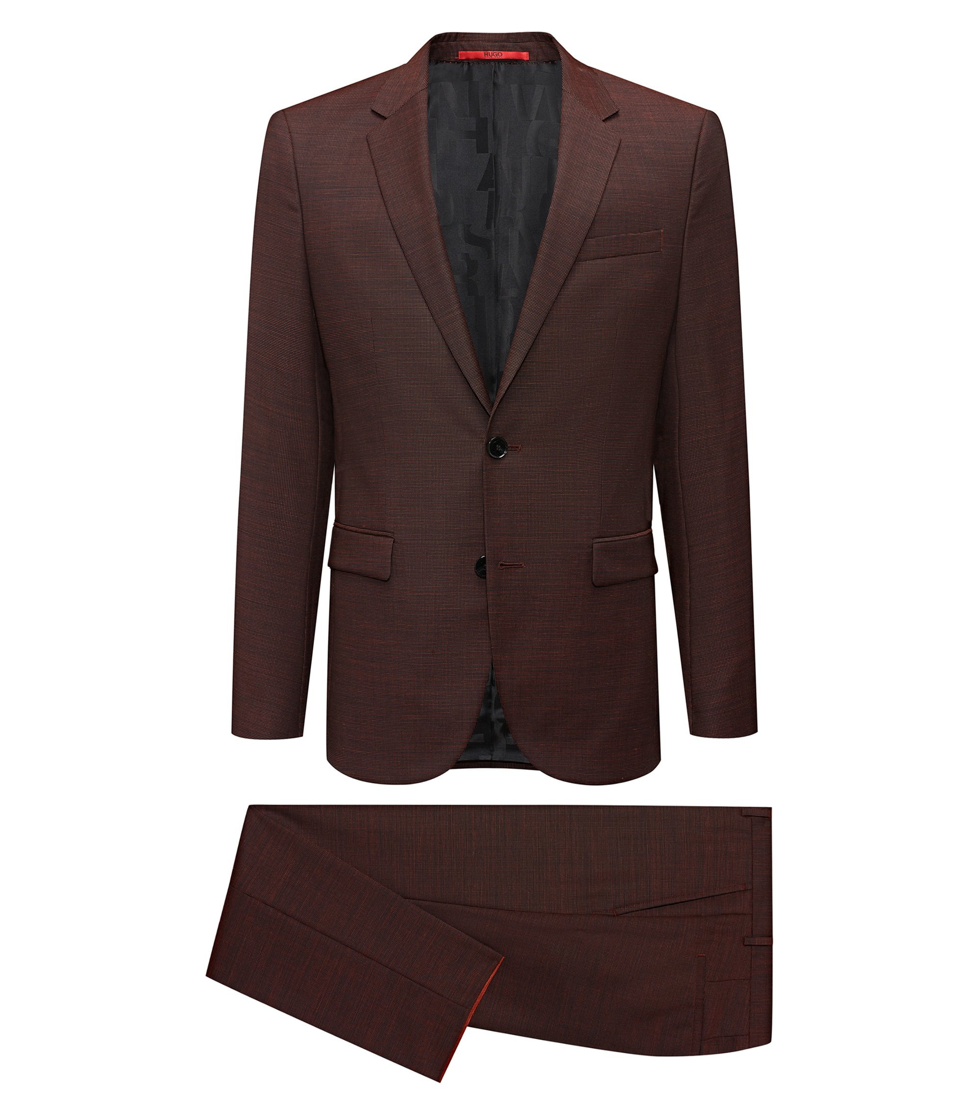 Extra-slim-fit virgin-wool suit with signature lining, Orange