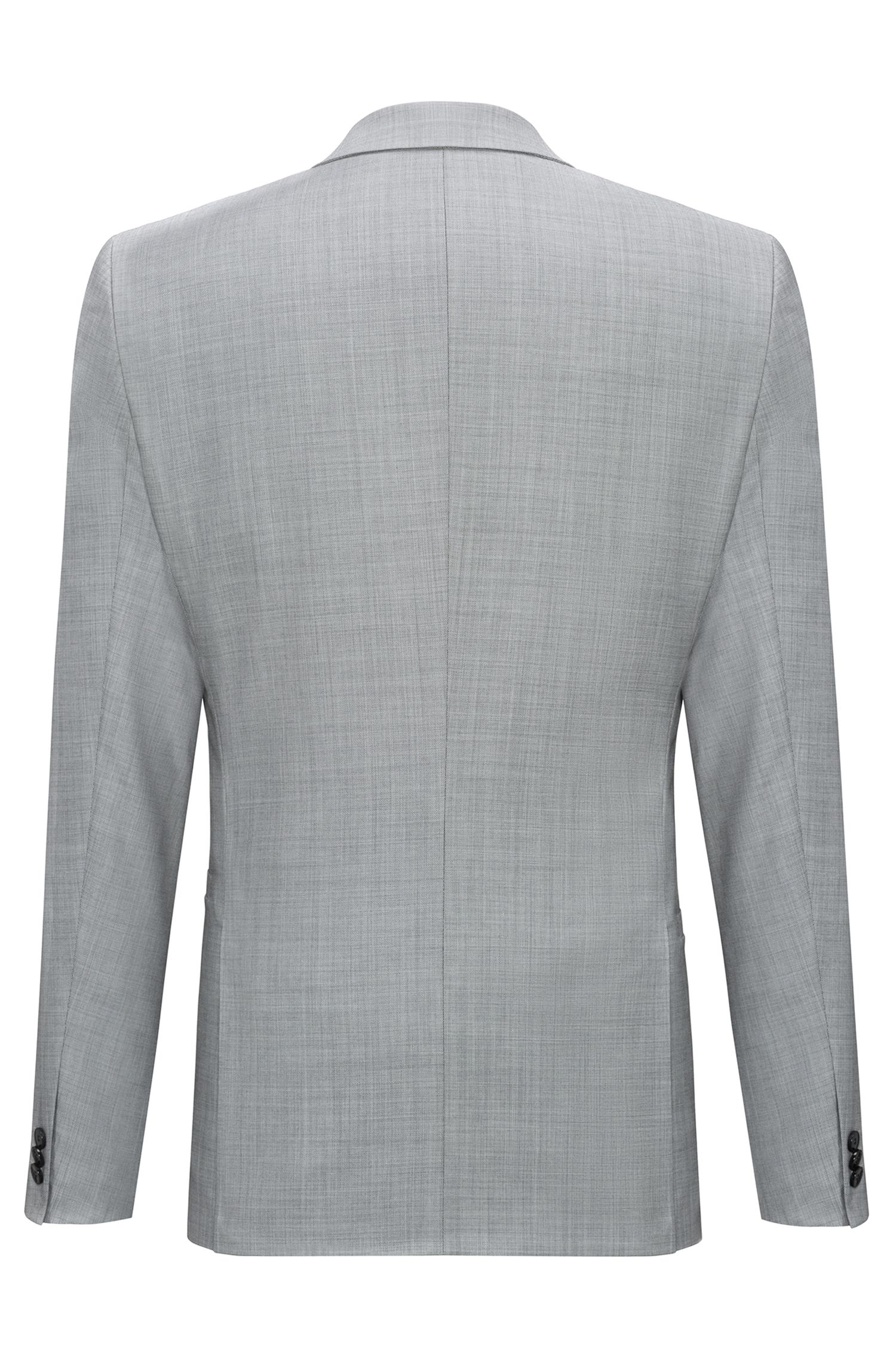 Extra-slim-fit three-piece suit in check wool, Open Grey
