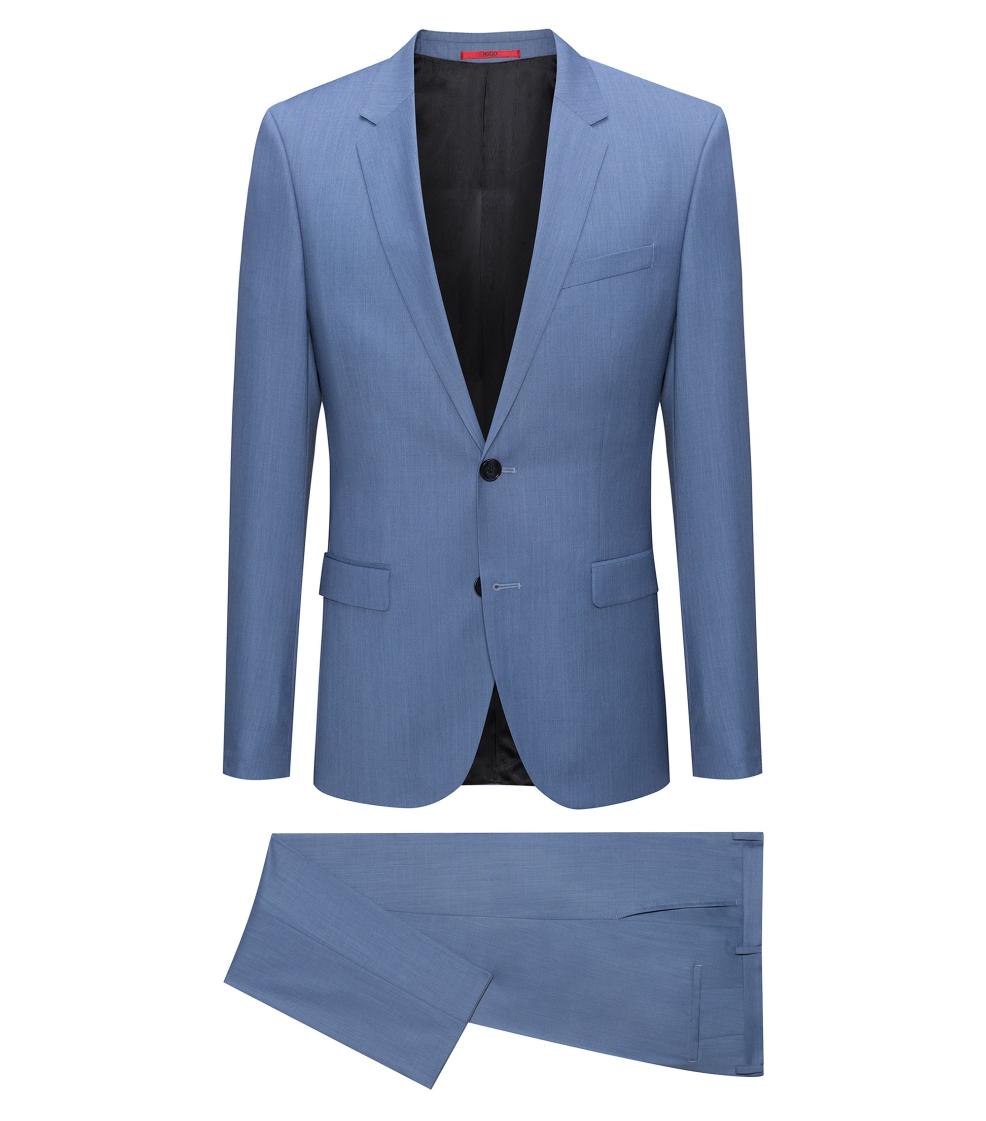Extra-slim-fit melange virgin wool suit, Turquoise