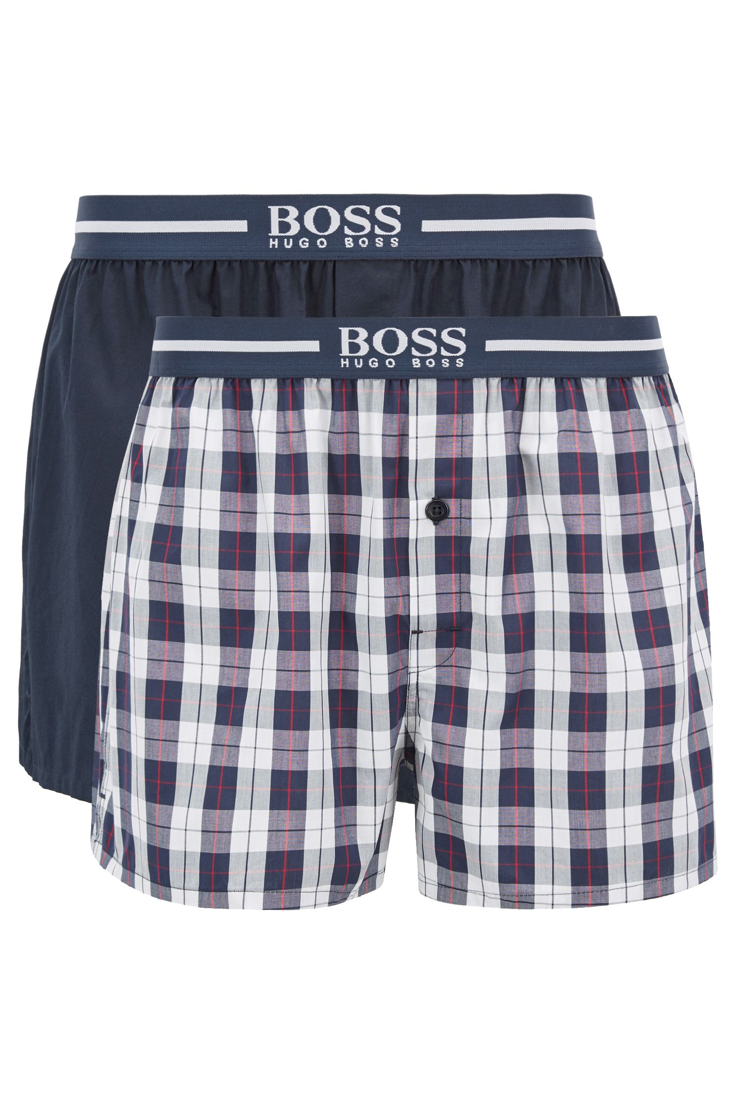 Two-pack of pyjama shorts in cotton poplin, Dark Blue