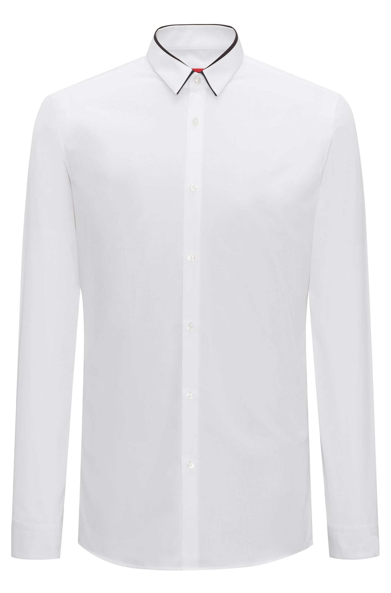 Extra-slim-fit cotton shirt with contrast collar trim, Open White