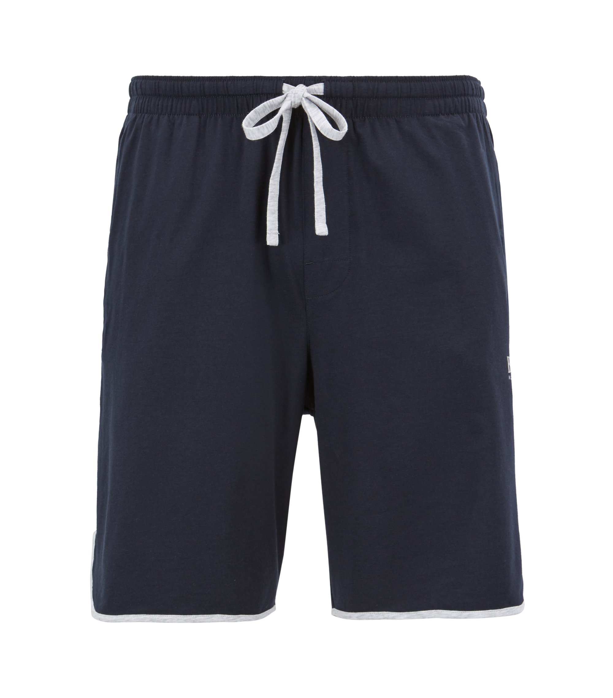 Drawstring-waist pyjama shorts with piping details, Dark Blue