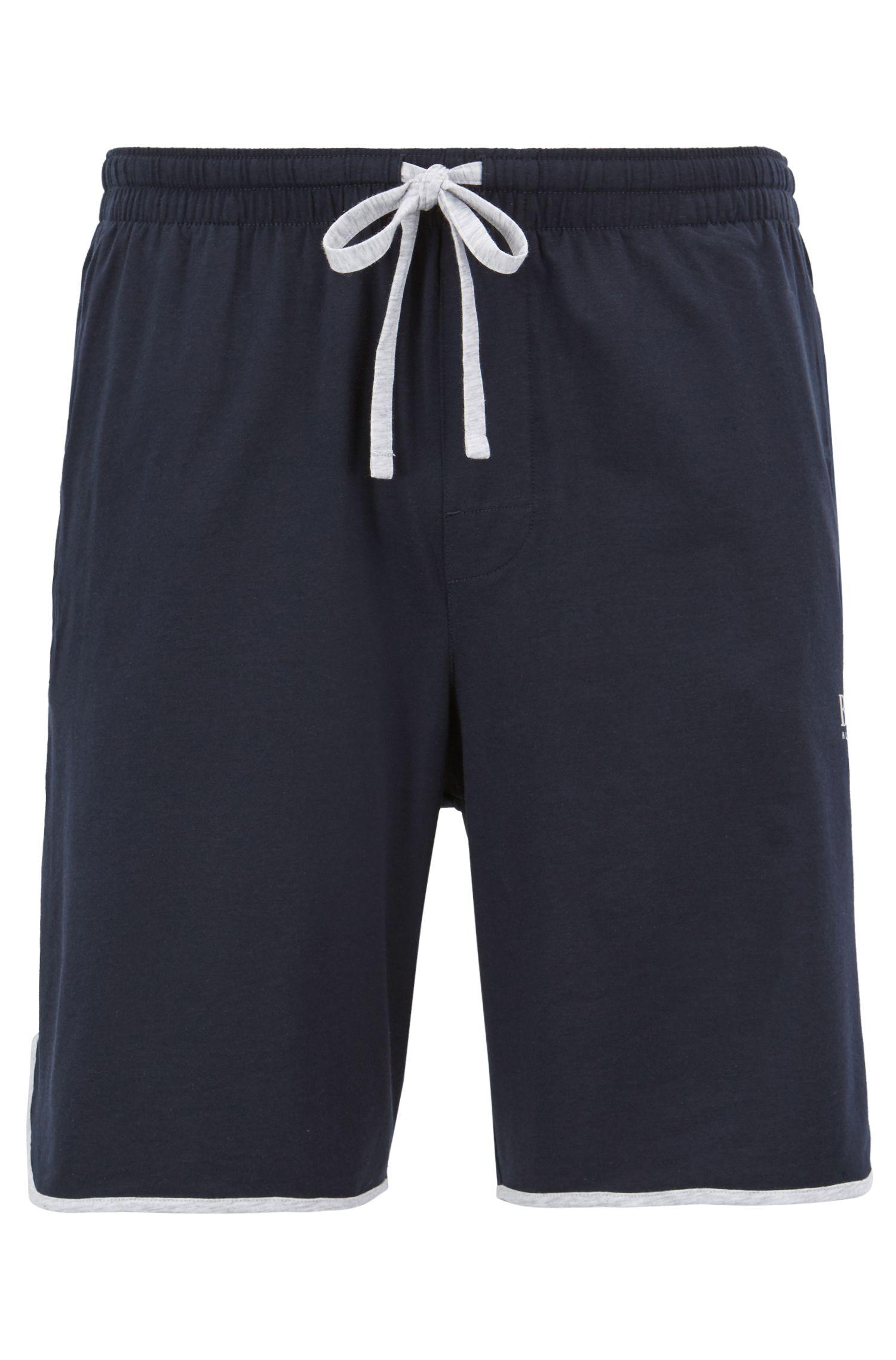 Pyjama-Shorts aus Single Jersey mit Tunnelzugbund und Paspeln, Dunkelblau