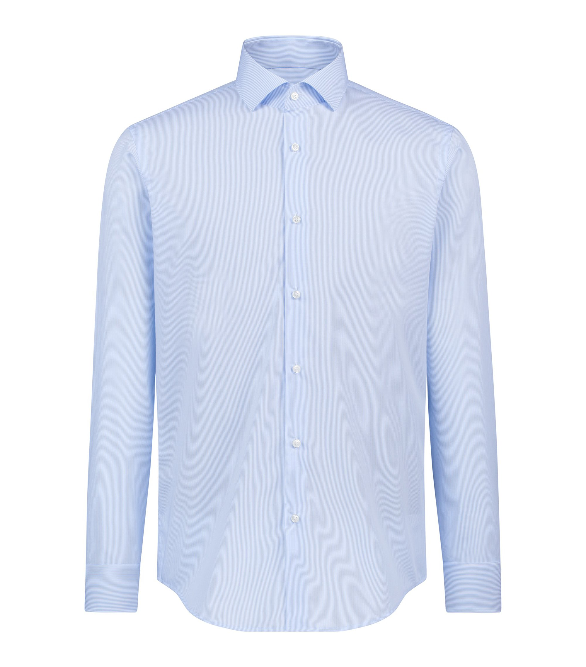 Striped regular-fit shirt in easy-iron cotton, Light Blue