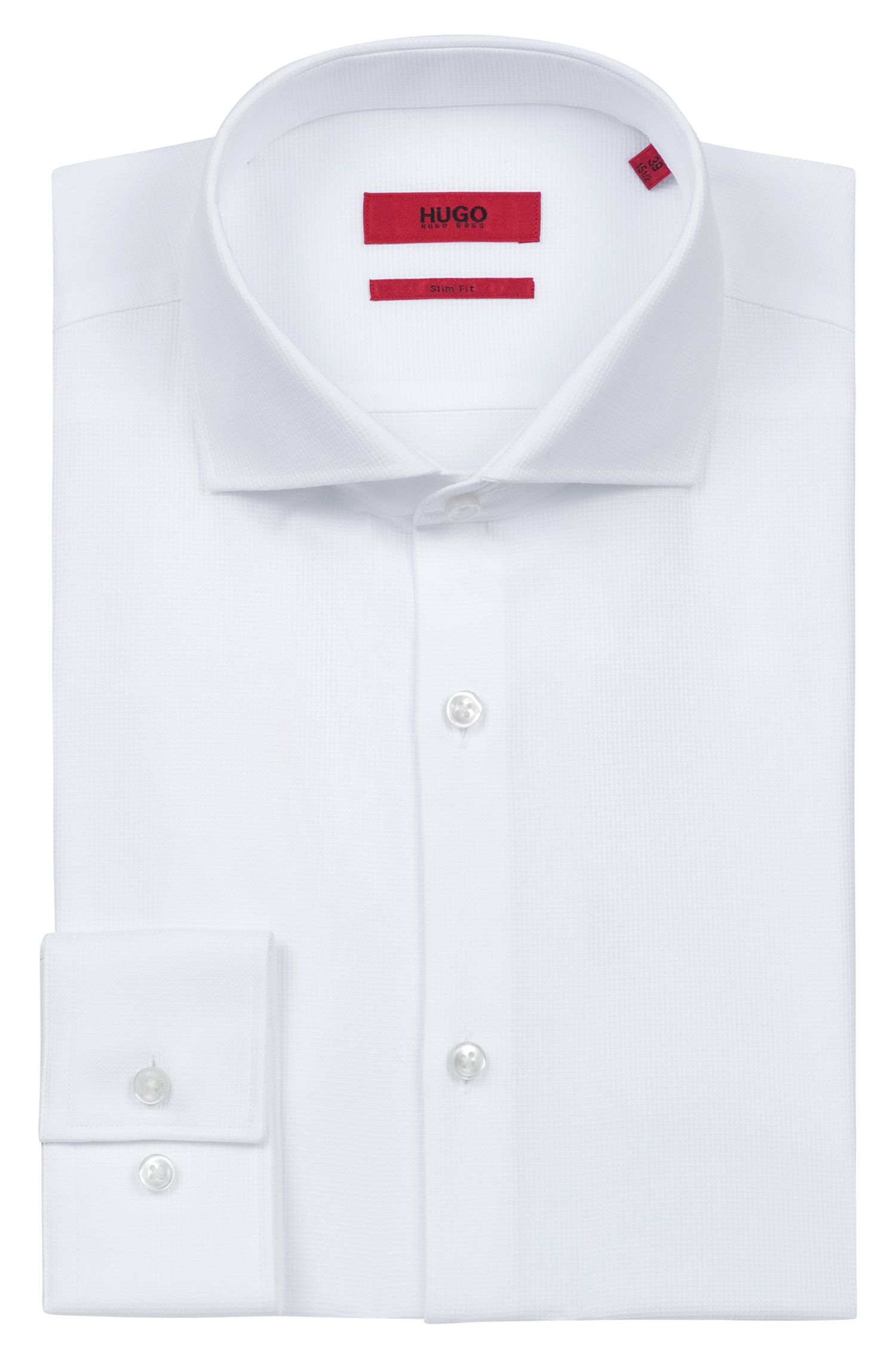 Slim-fit shirt in structured cotton with spread collar, Open White