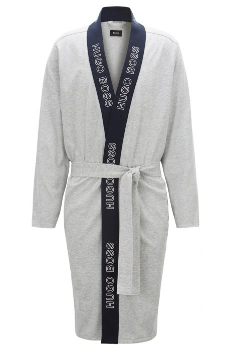 BOSS - Dressing gown in brushed single-jersey cotton