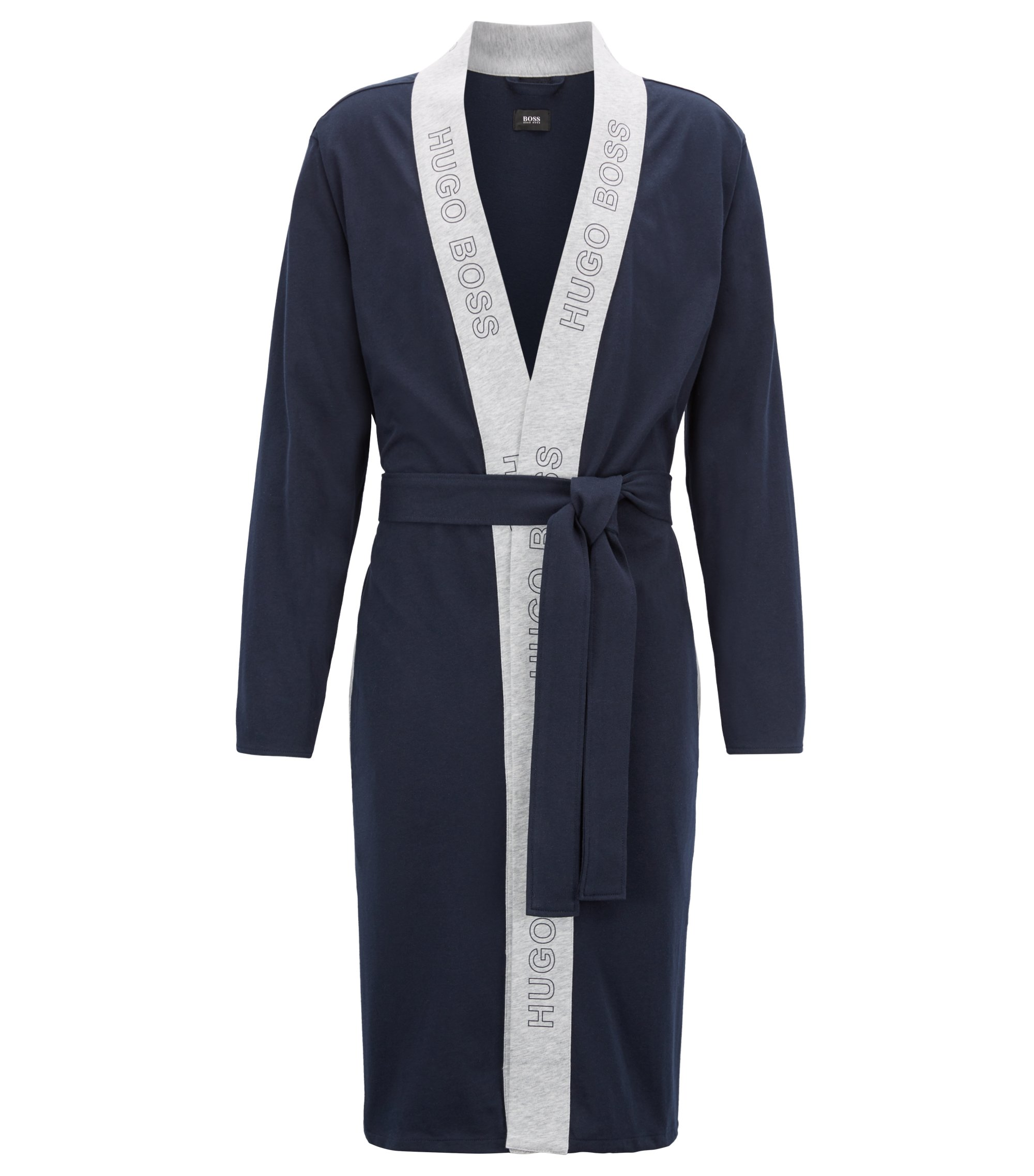 Dressing gown in brushed single-jersey cotton, Dark Blue