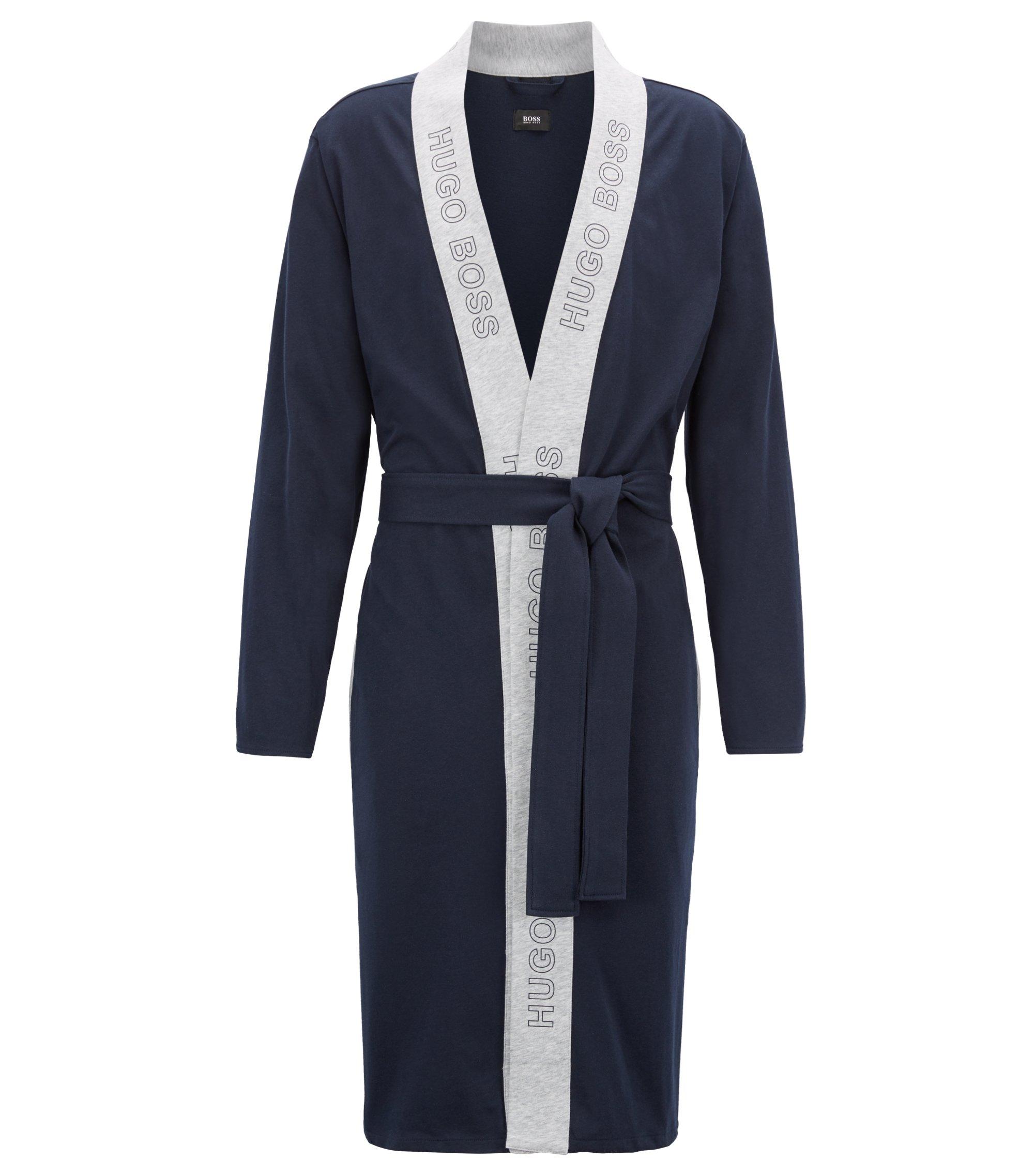 Peignoir en jersey simple de coton brossé, Bleu foncé