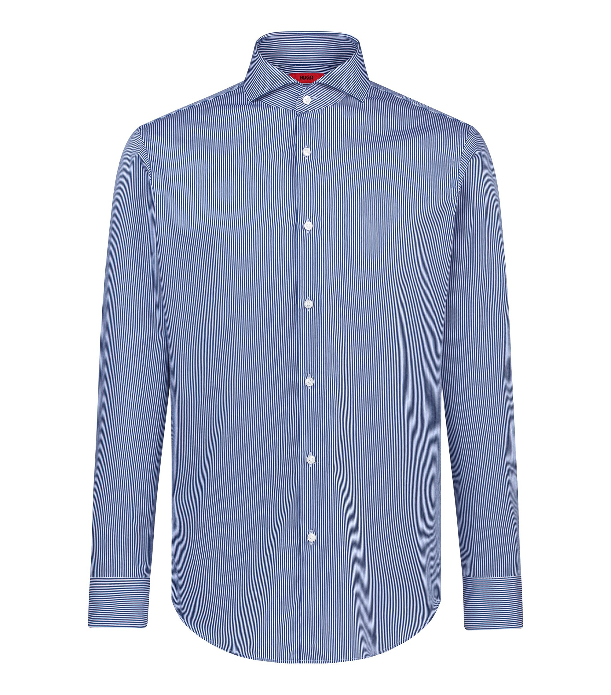 Camicia regular fit a righe in cotone con finitura in satin, Blu
