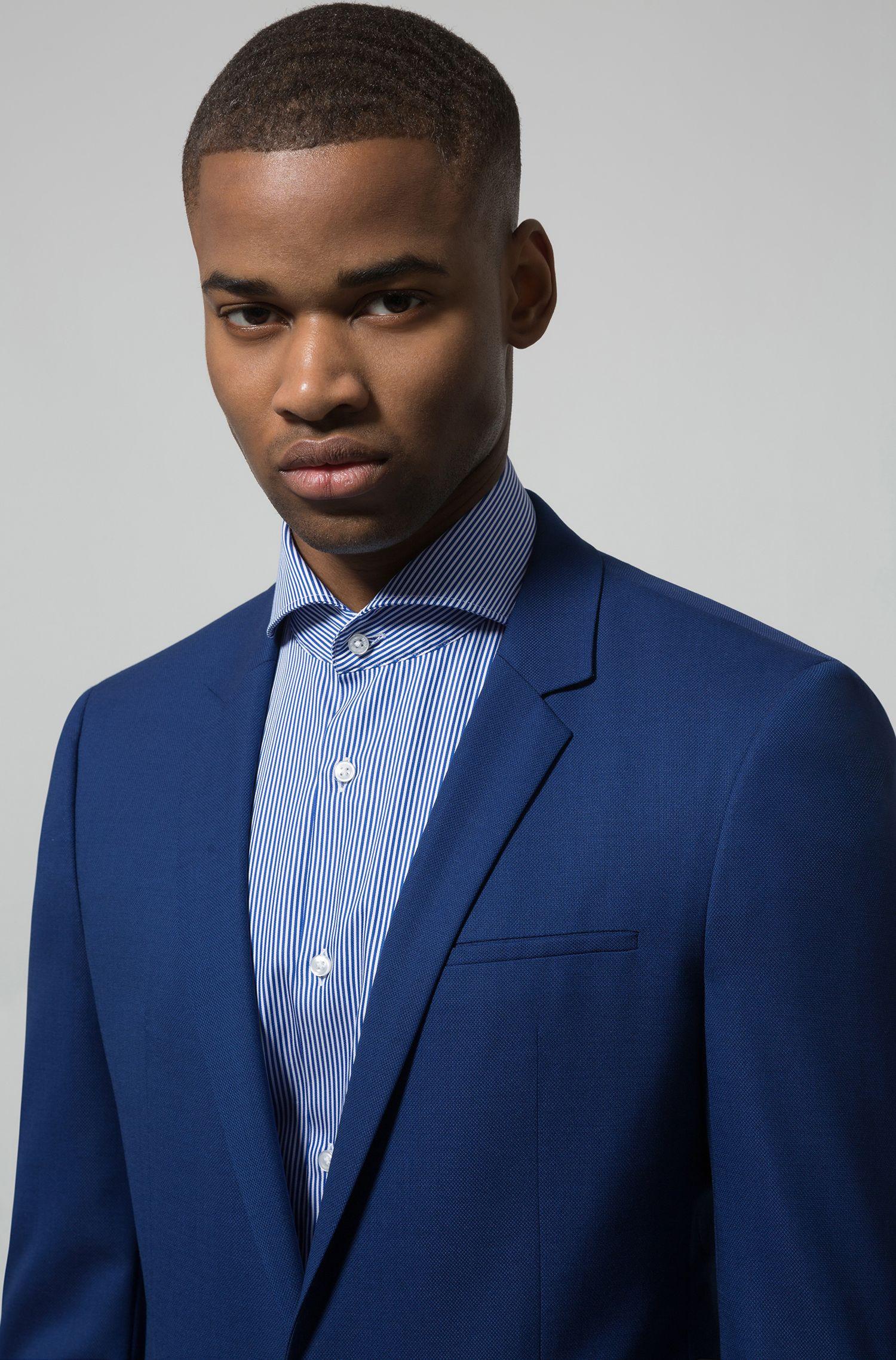 Gestreiftes Regular-Fit Hemd aus Baumwoll-Satin, Blau