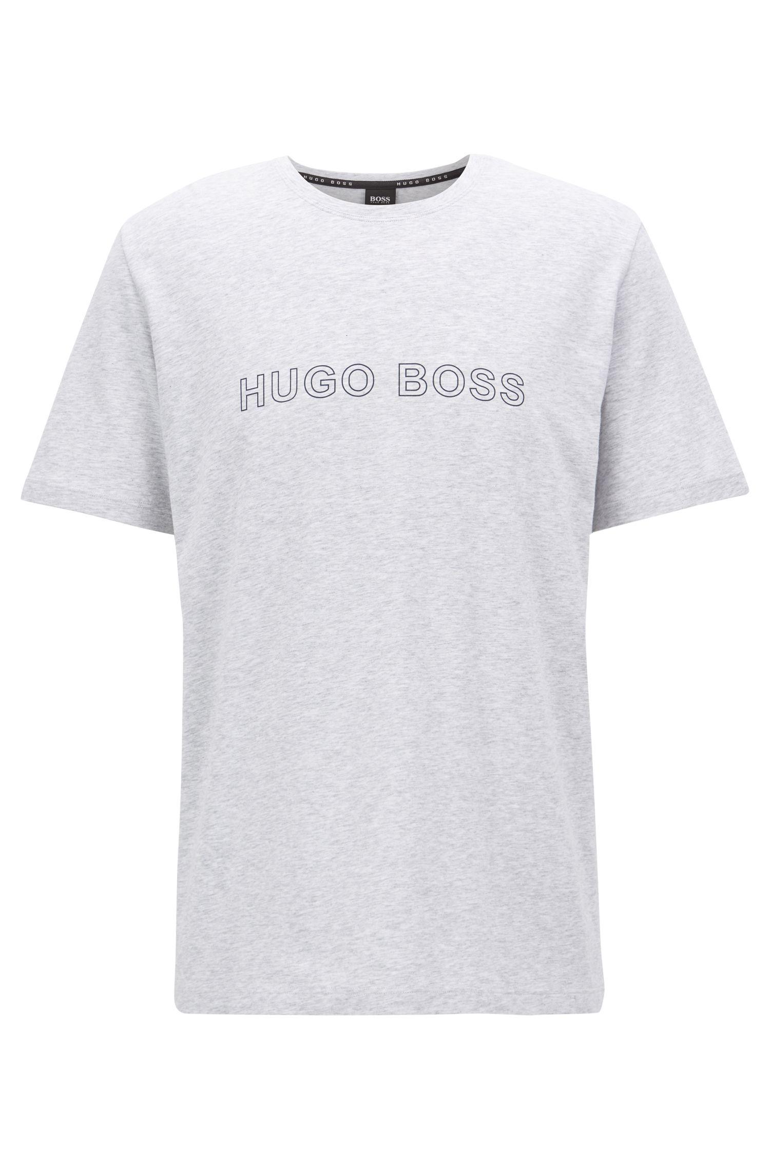 Pyjama-T-shirt van stretchkatoen met logoprint, Grijs