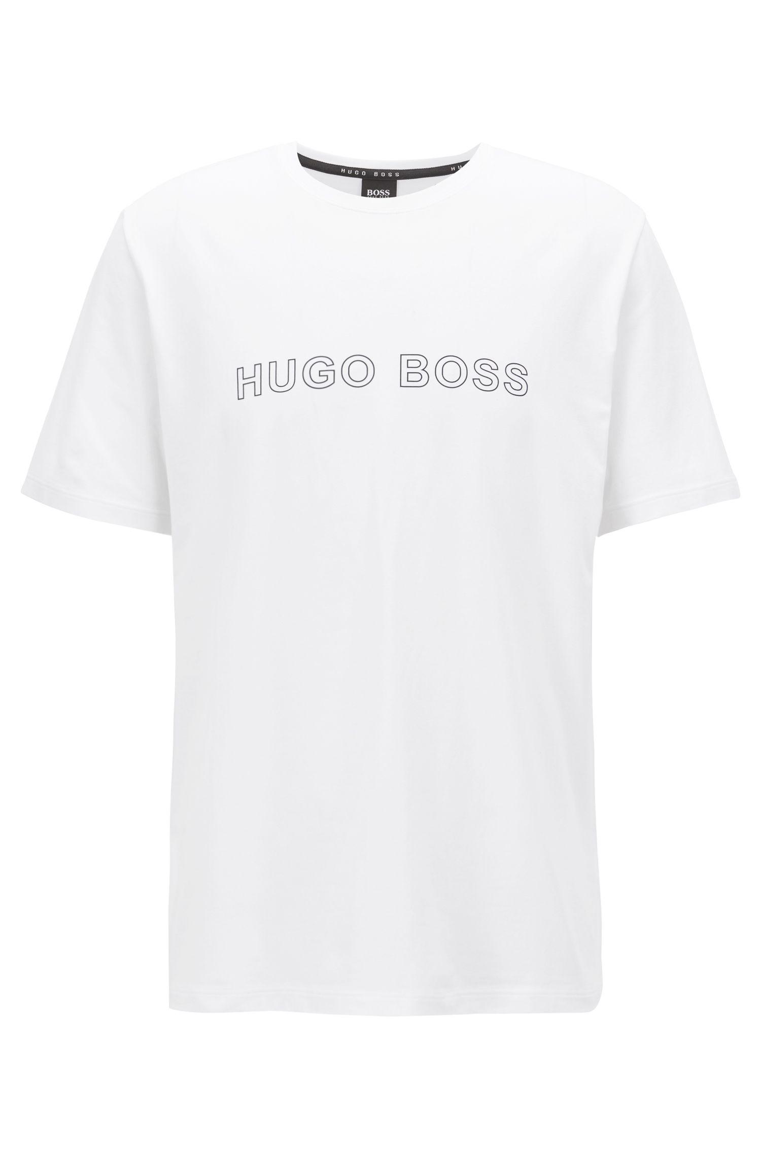 T-shirt de pyjama en coton stretch à logo imprimé