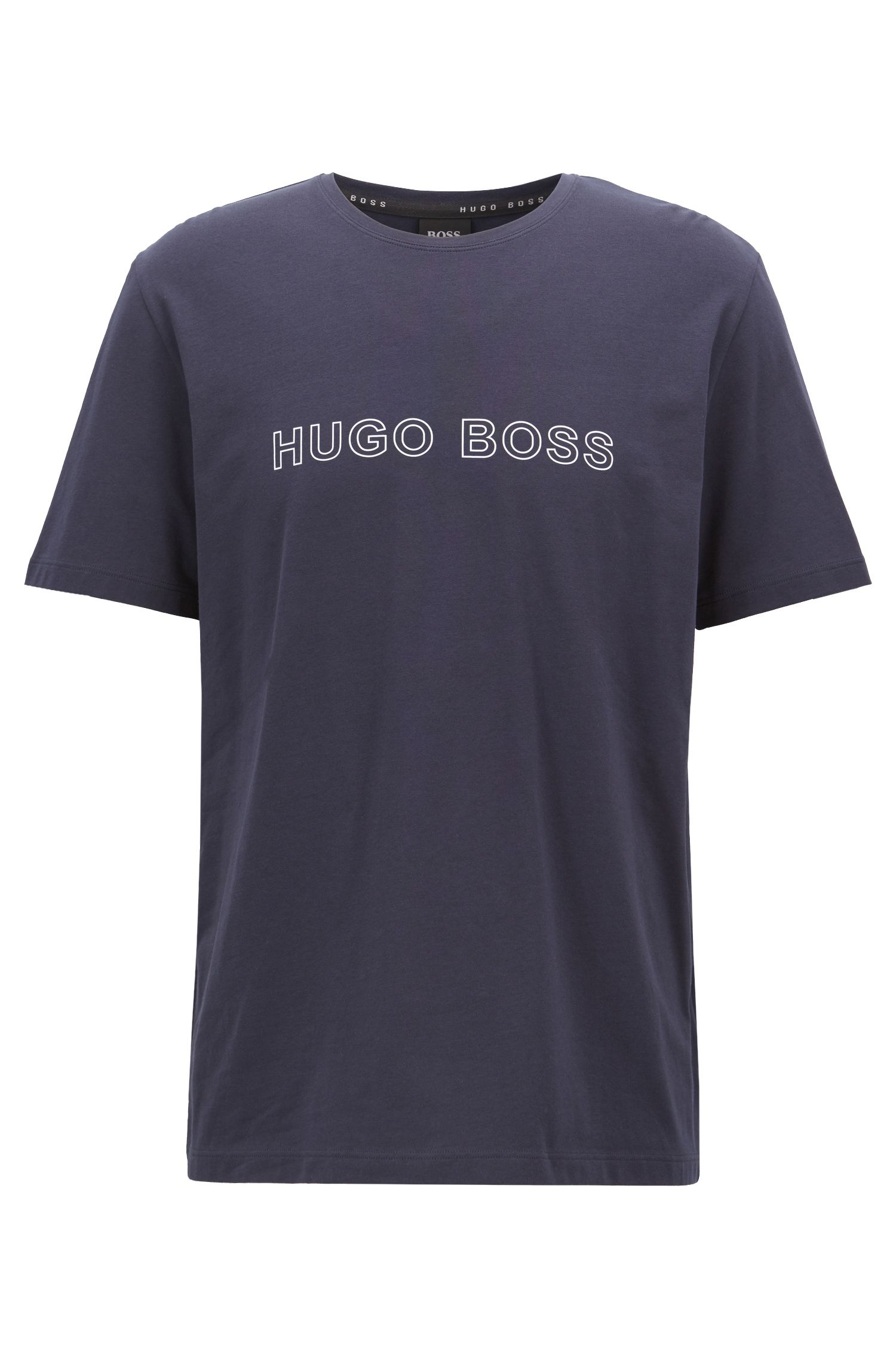 Logo-print pyjama T-shirt in stretch cotton, Dark Blue