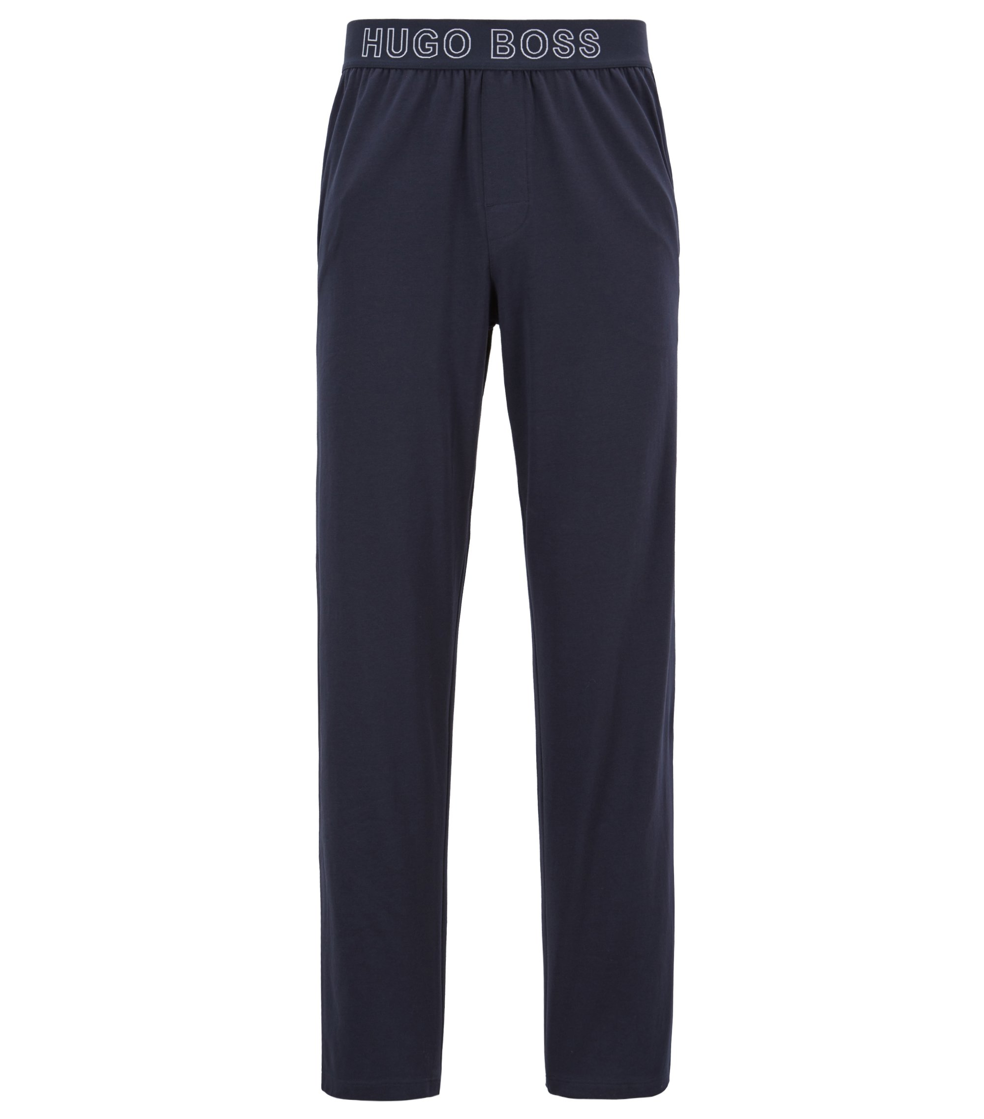 Jersey pyjama bottoms with logo-jacquard waistband, Dark Blue