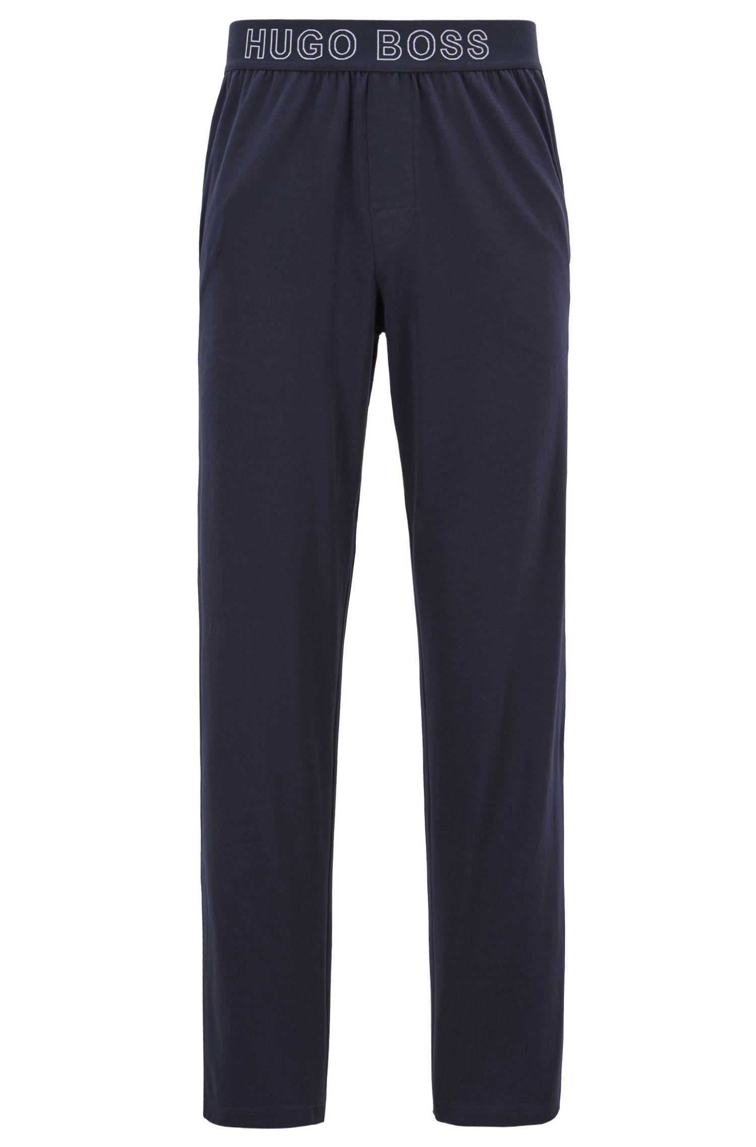 Jersey pyjamabroek met logo-jacquard tailleband, Donkerblauw