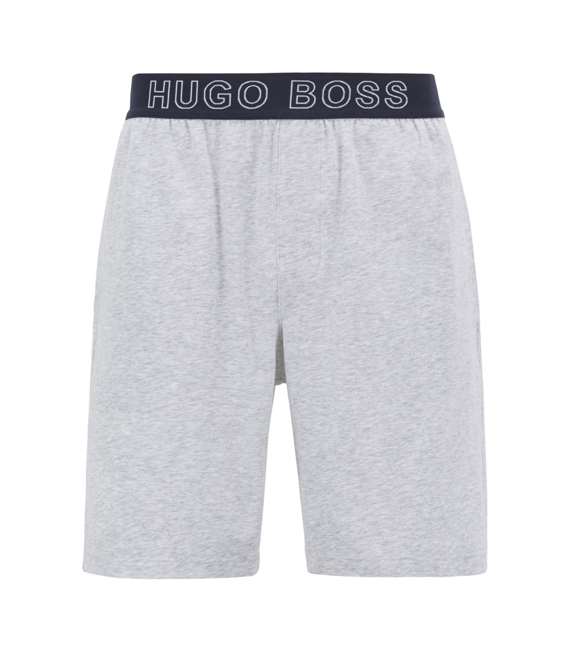 Pyjama-Shorts aus Stretch-Baumwolle mit Jacquard-Logo am Bund, Grau
