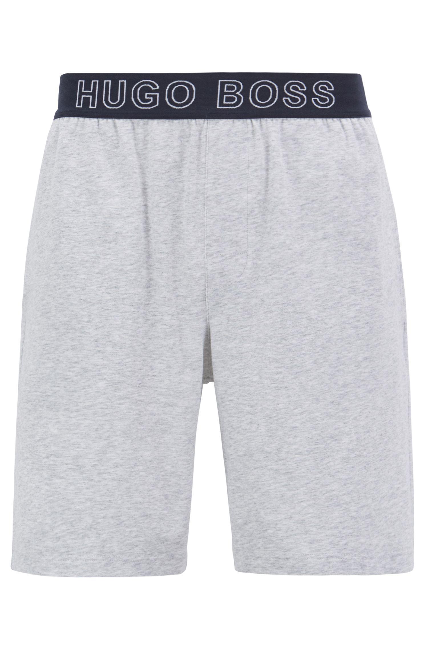 Shorts de pijama de algodón elástico con logo de jacquard en la cintura, Gris
