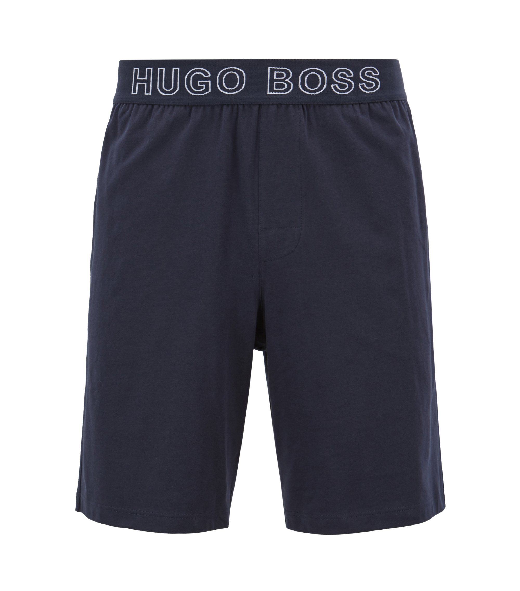 Stretch-cotton pyjama shorts with logo-jacquard waistband, Dark Blue