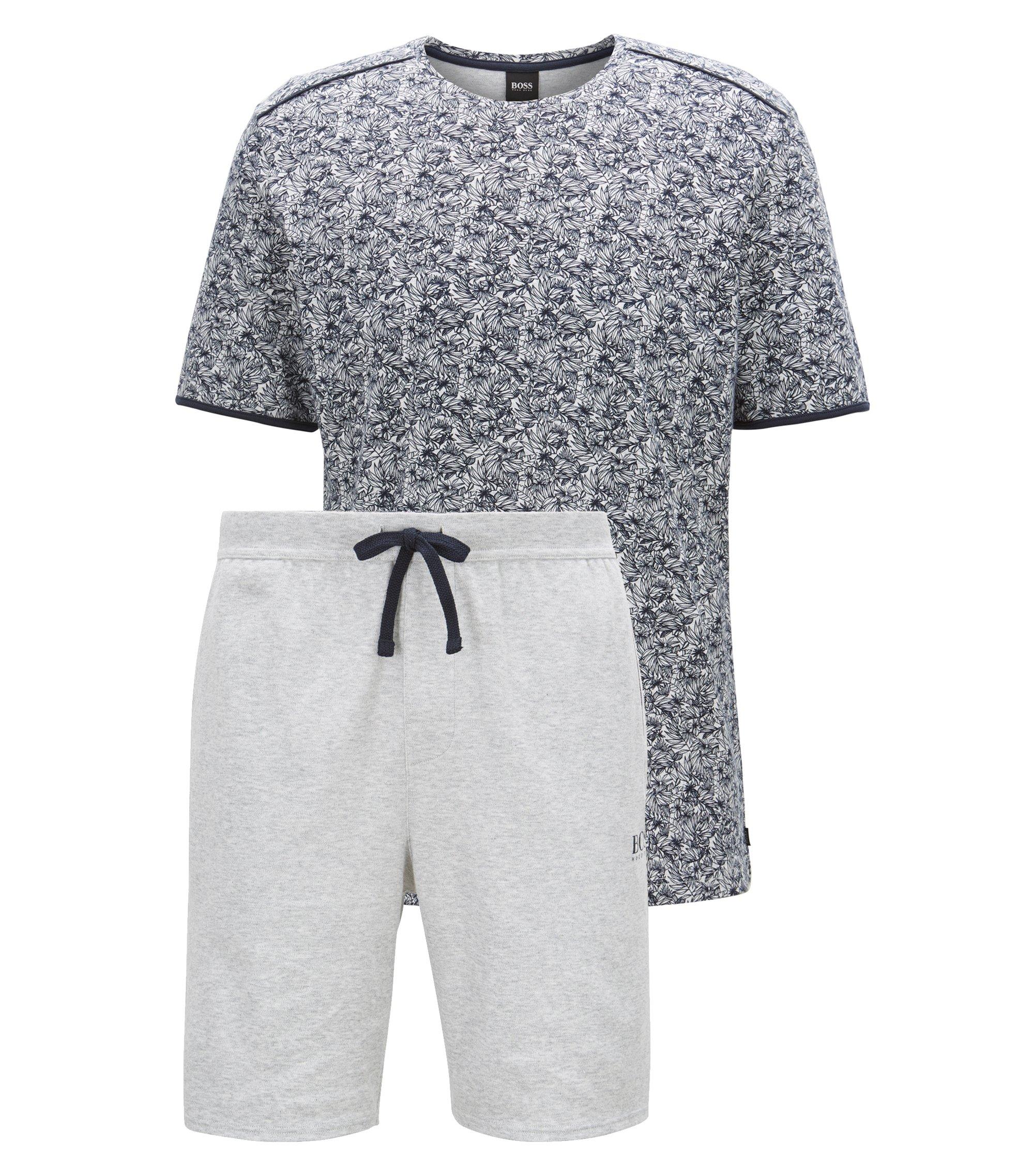 Floral-print pyjama set in interlock cotton, Dark Blue