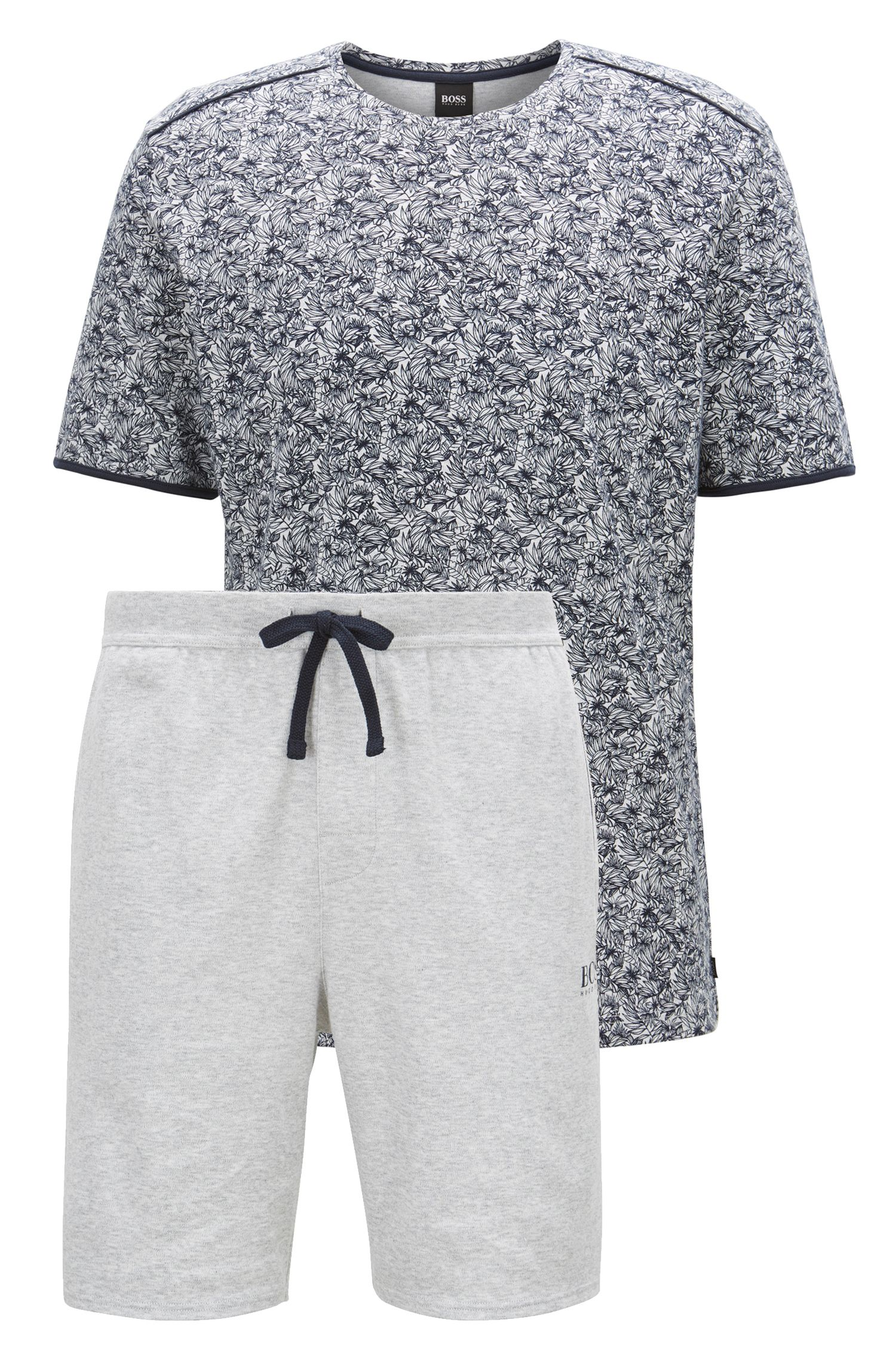 Pyjama en coton interlock à imprimé floral, Bleu foncé