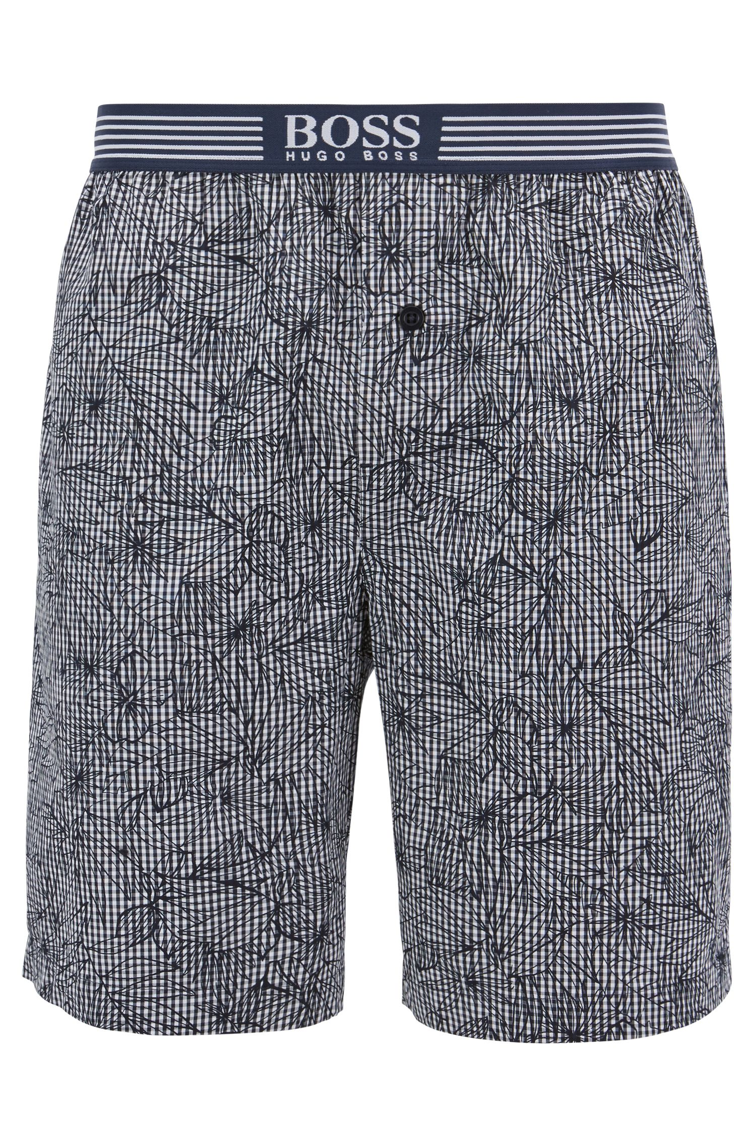 Vichy-check pyjama shorts with floral overprint, Dark Blue