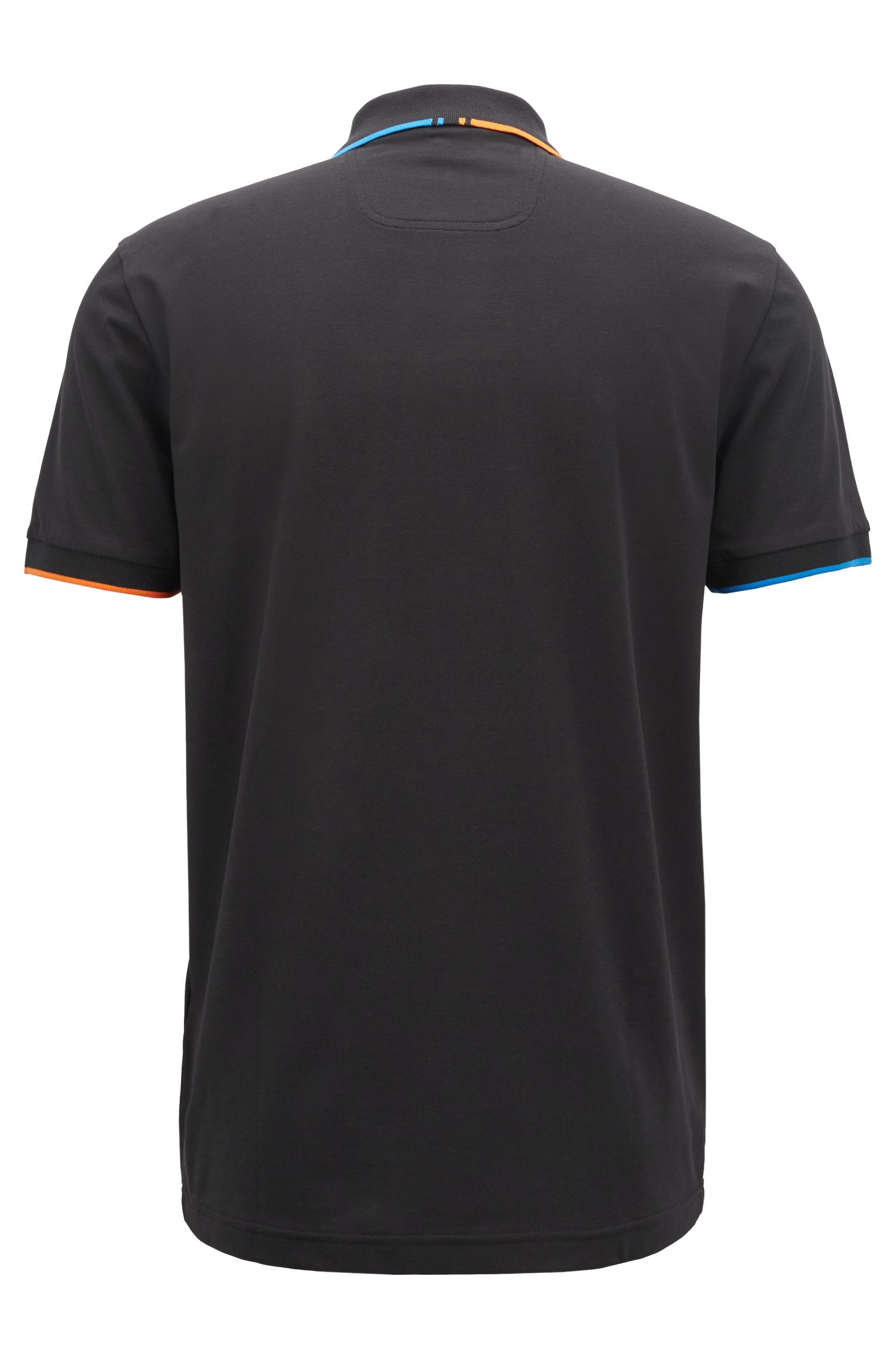 Slim-fit polo shirt with shifted stripes, Black