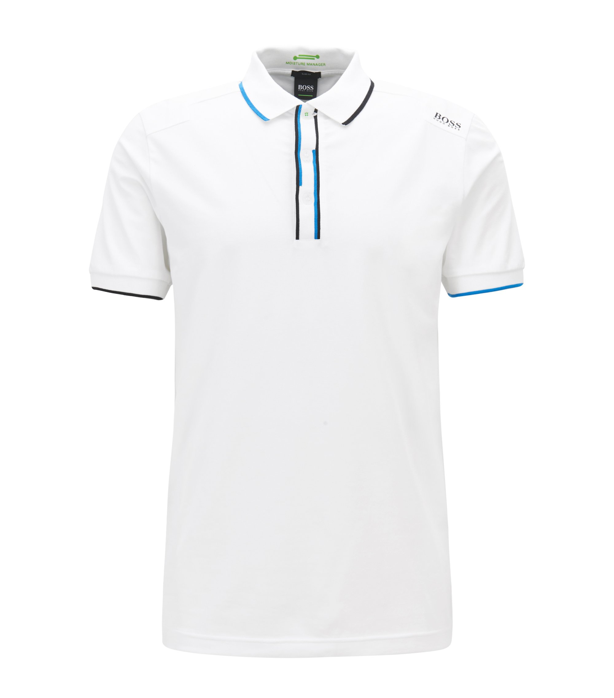 Slim-fit polo shirt with shifted stripes, White