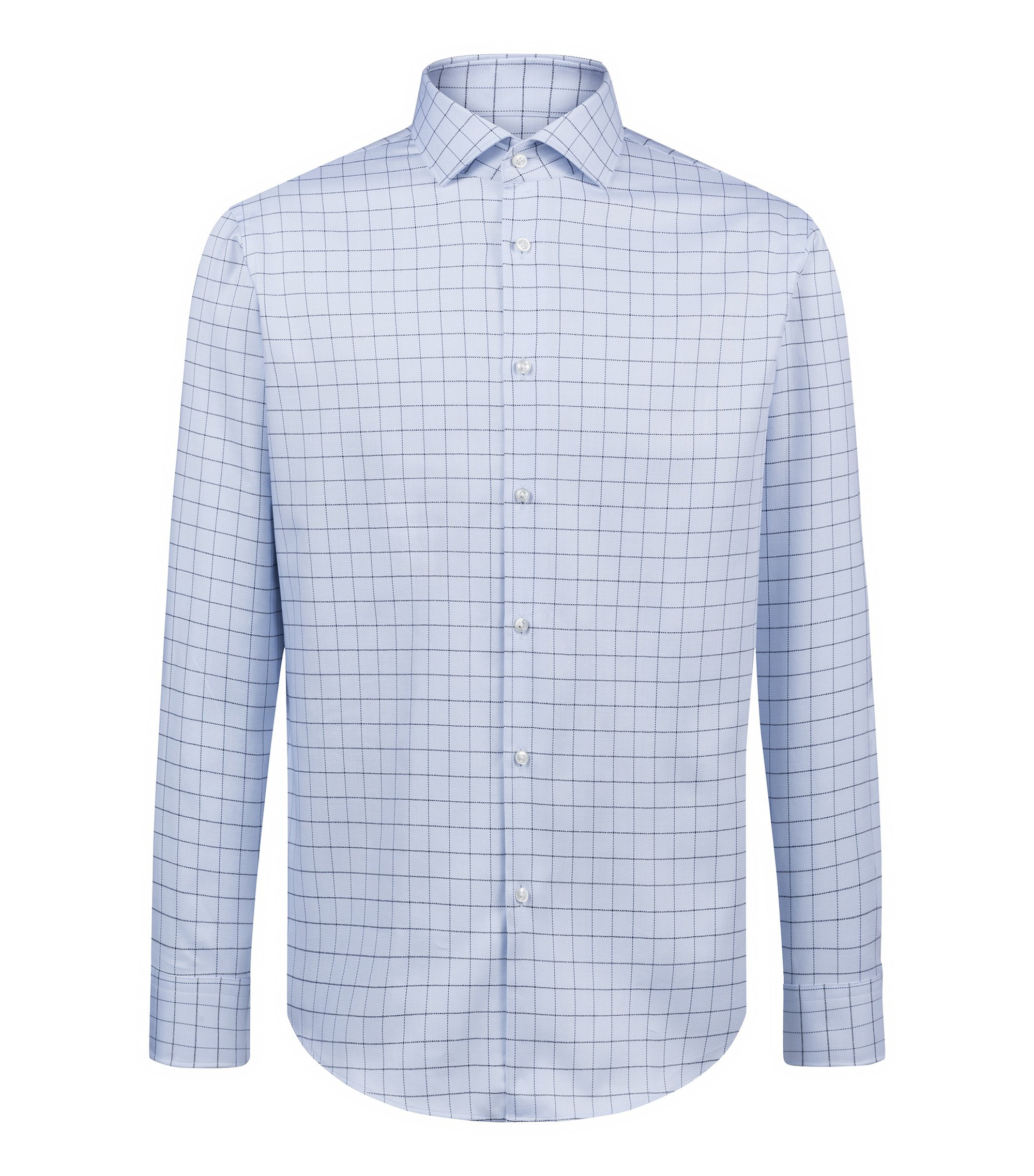 Camicia regular fit in cotone principe di Galles lavorato, Celeste