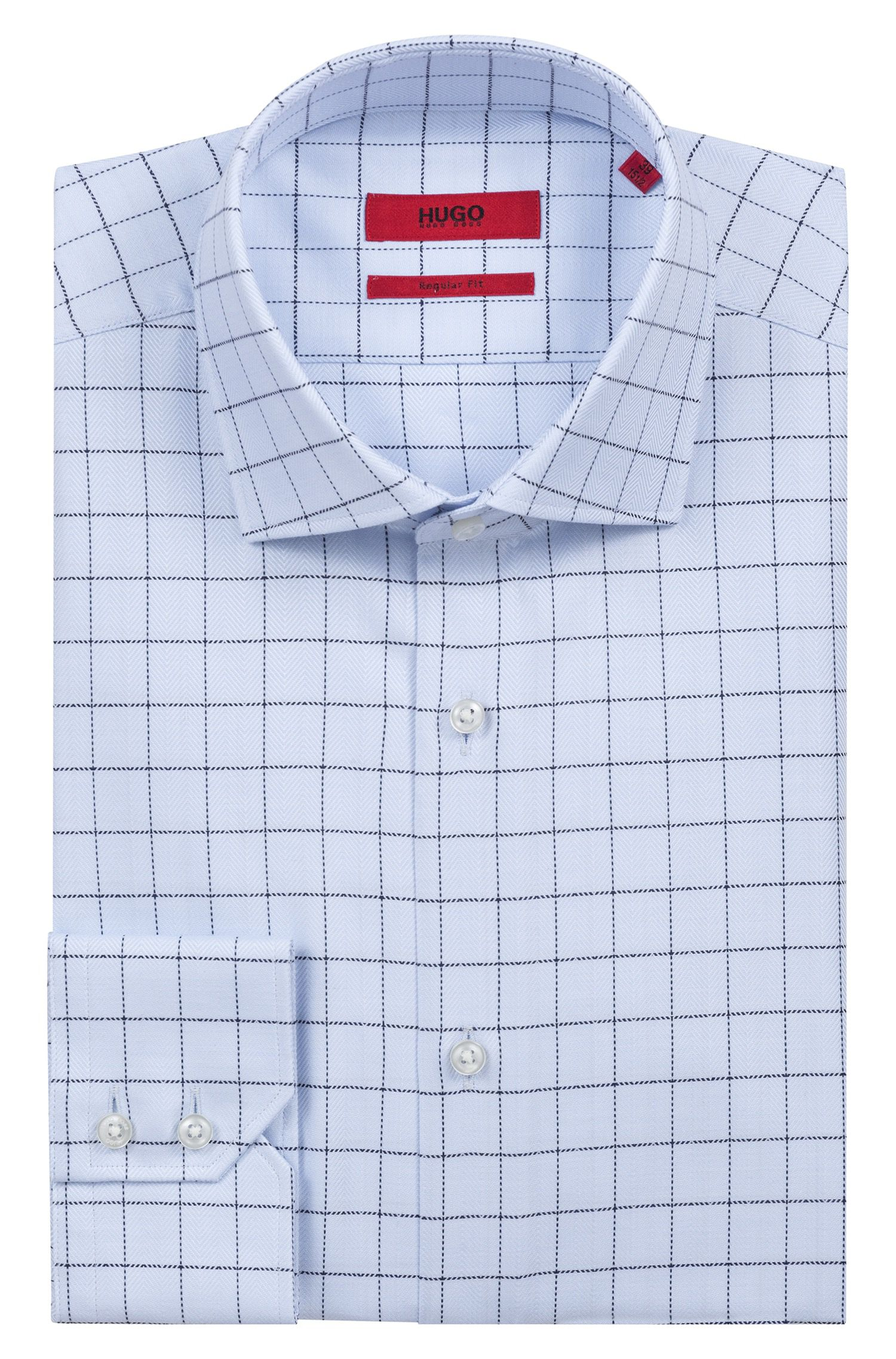 Regular-fit Glen-check shirt in structured cotton, Light Blue