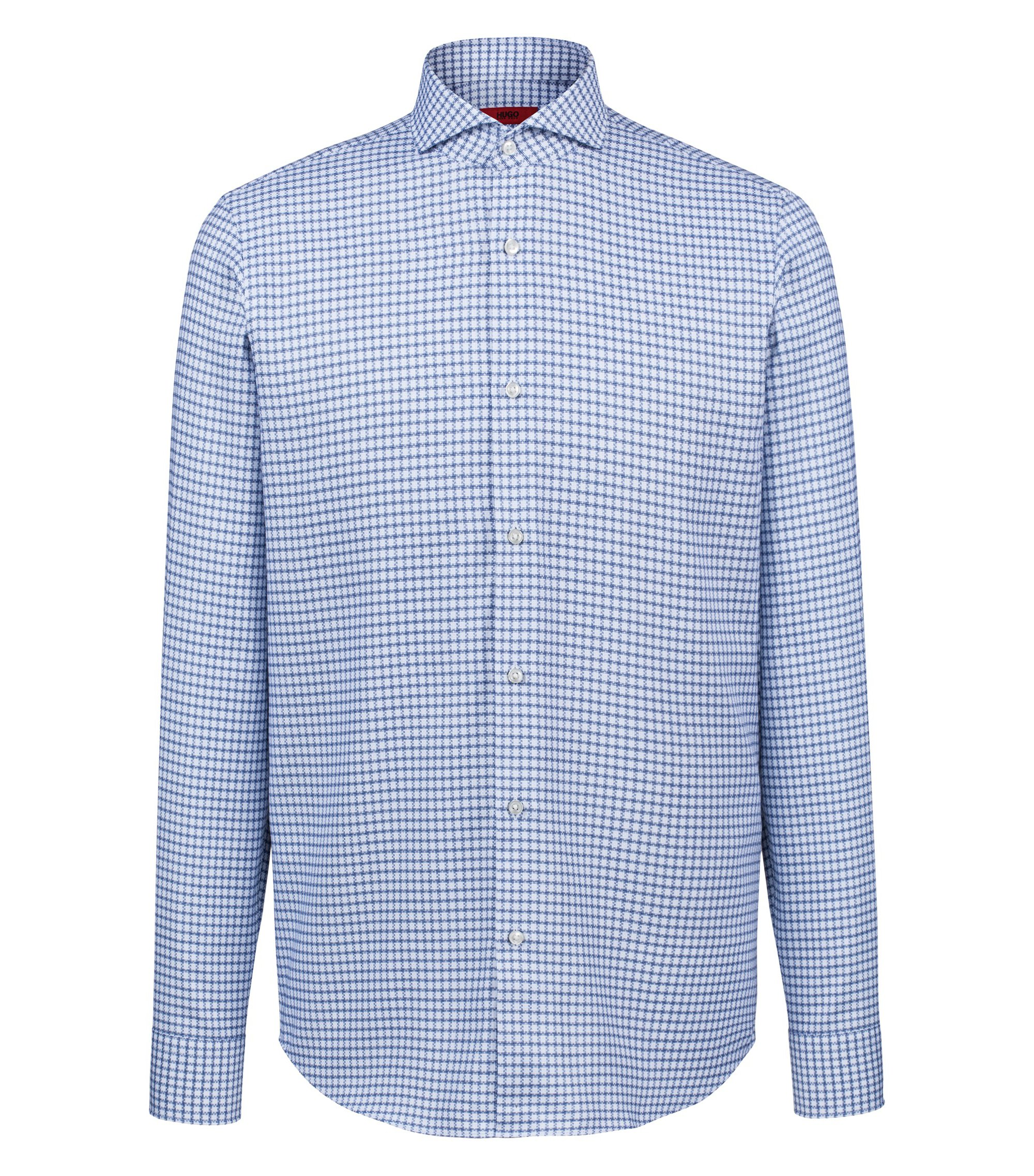 Camicia regular fit in cotone a quadri con colletto alla francese, Blu