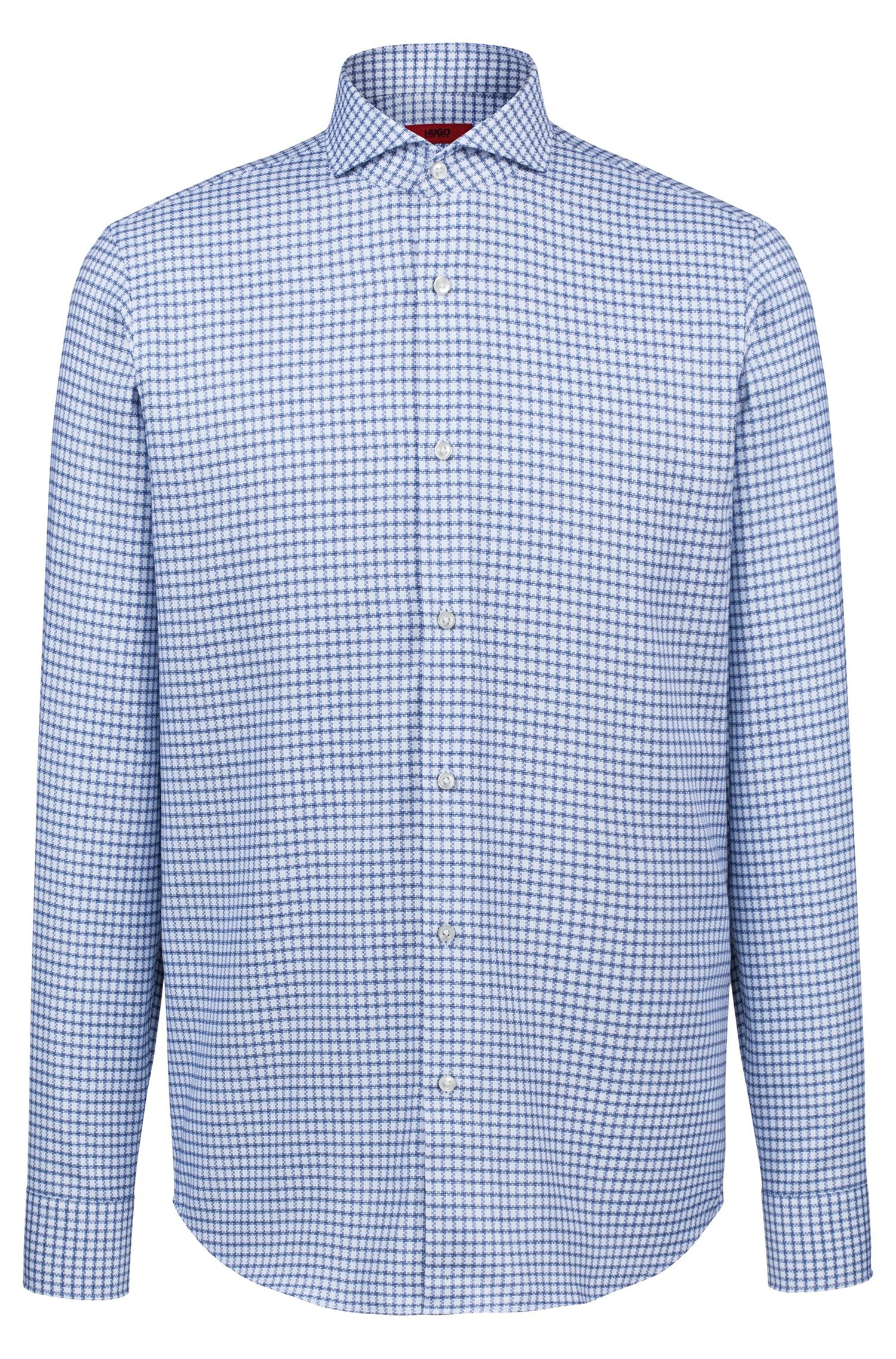 Regular-fit shirt in checked cotton with spread collar, Blue