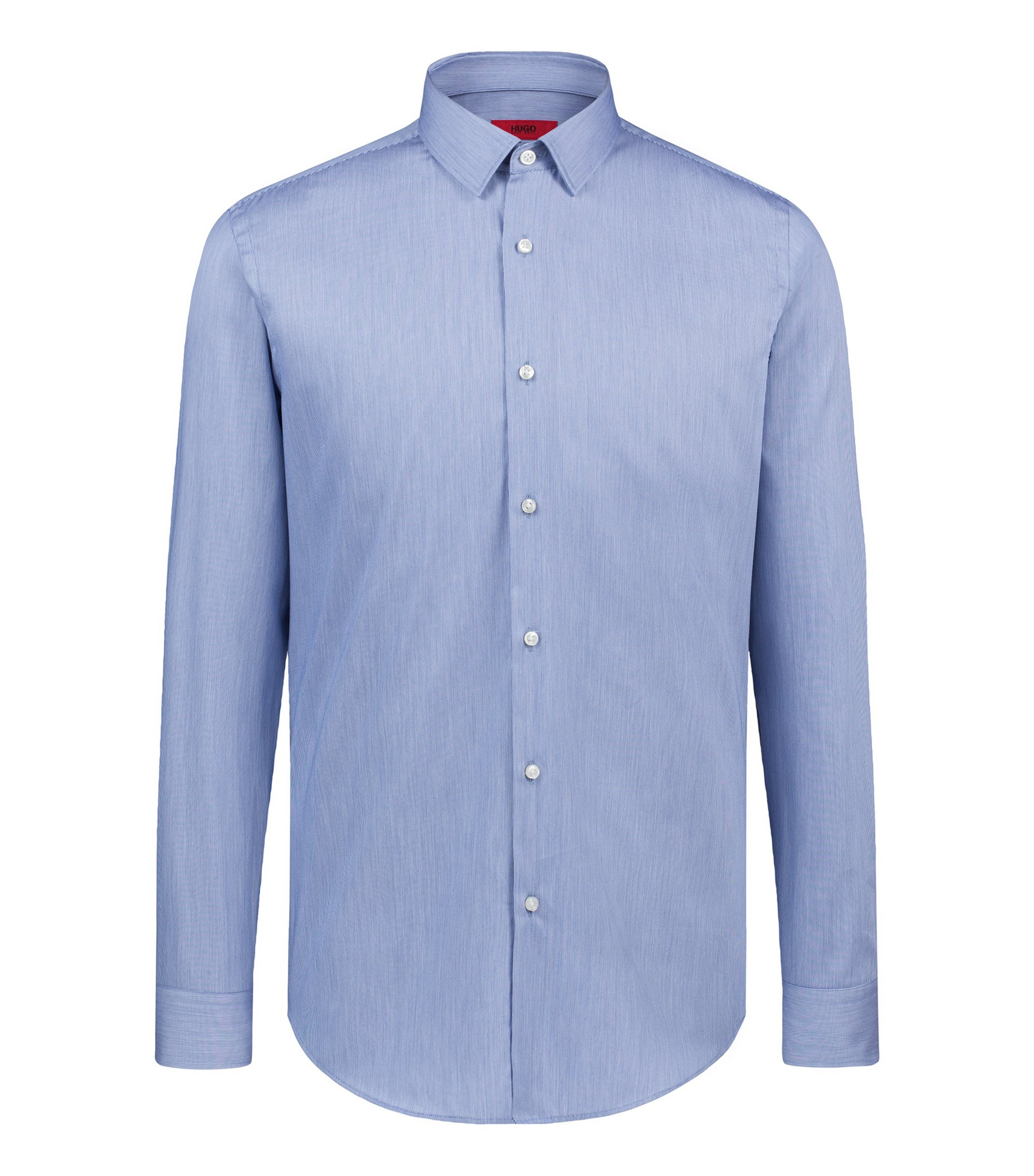 Camicia a righe slim fit in cotone con finitura in satin, Blu