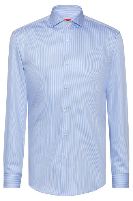 Slim-fit shirt in striped satin with extra-long sleeves, Patterned