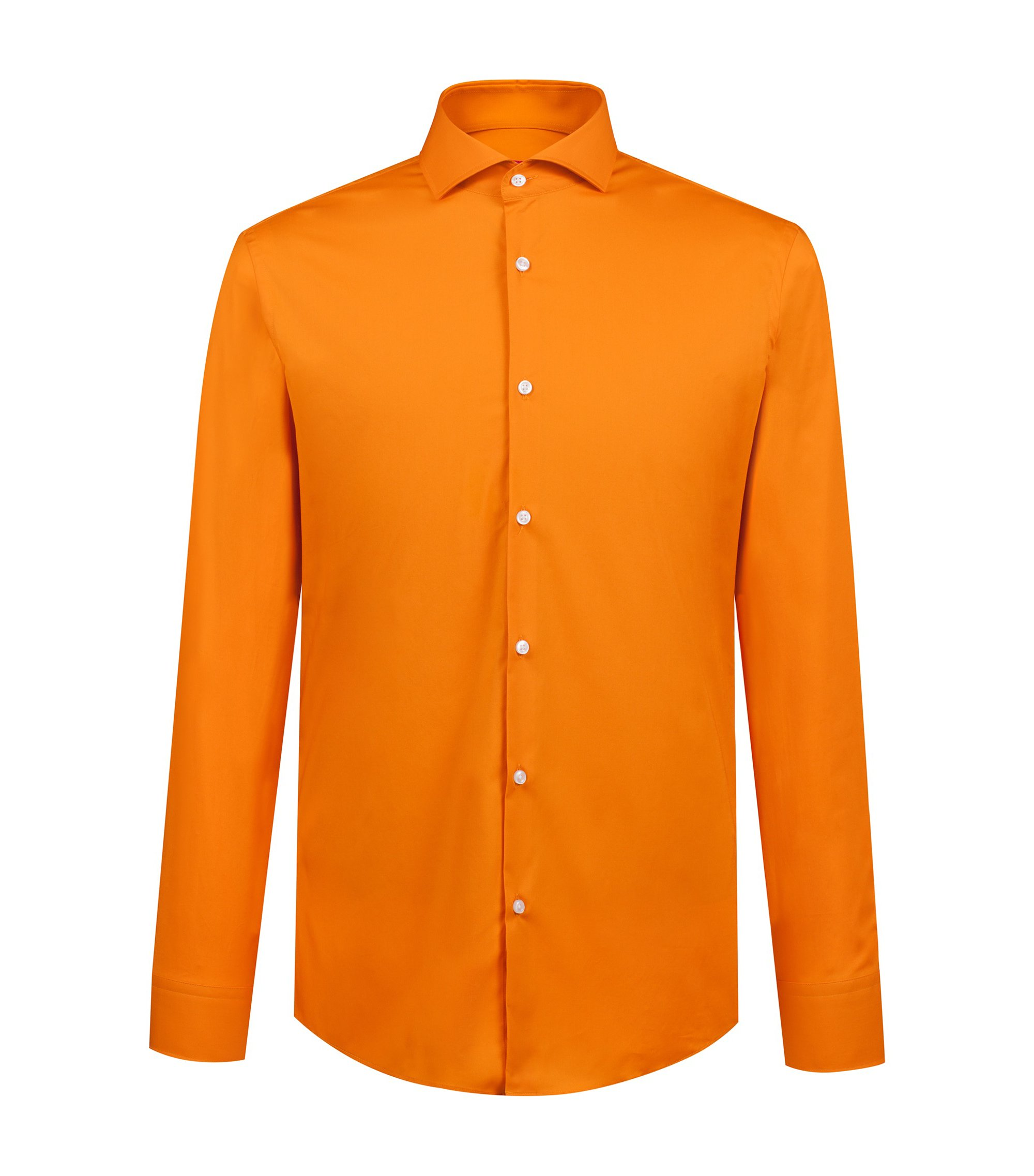 Slim-fit shirt in stretch-cotton poplin, Orange
