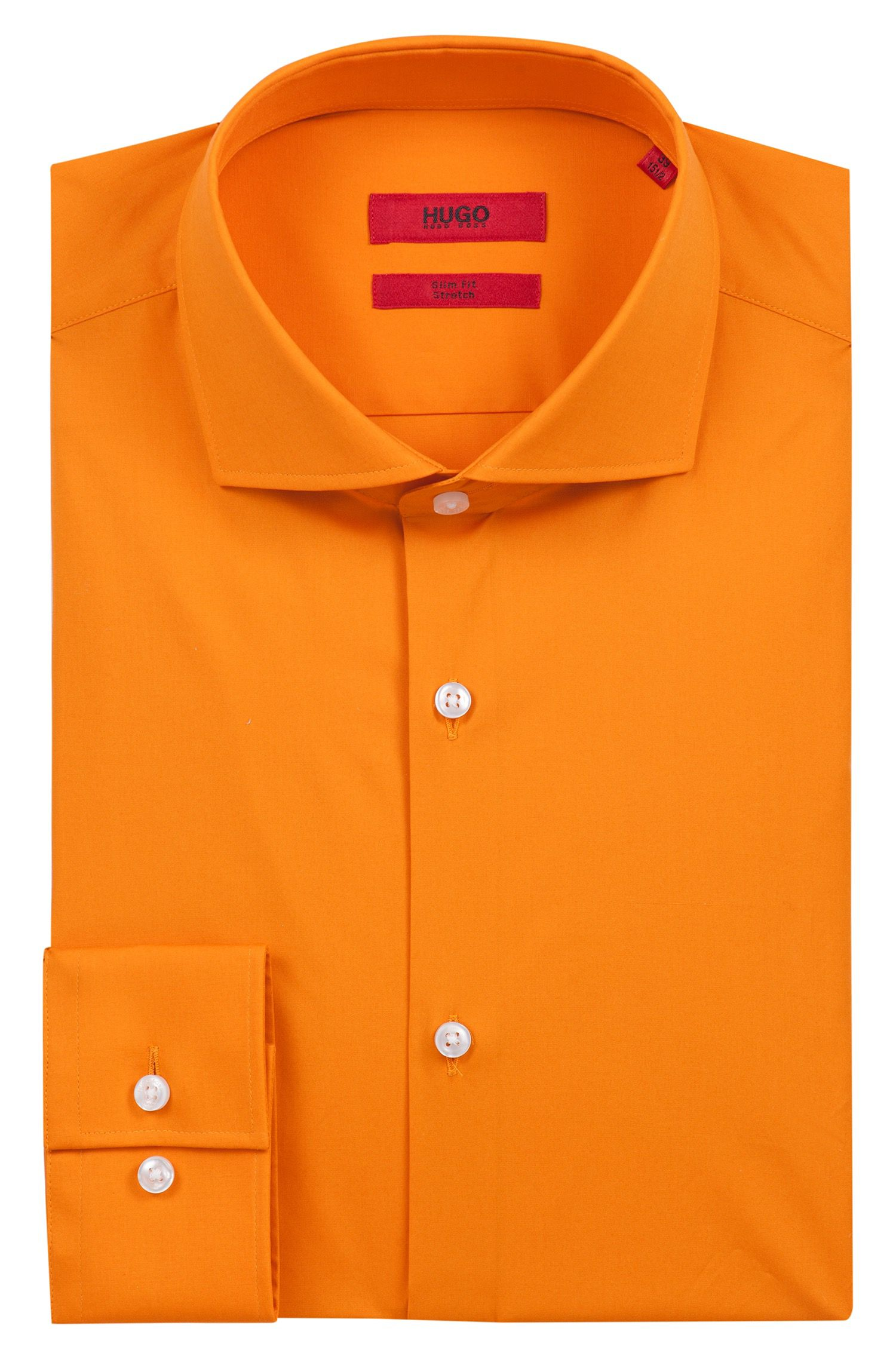 Chemise Slim Fit en popeline de coton stretch, Orange