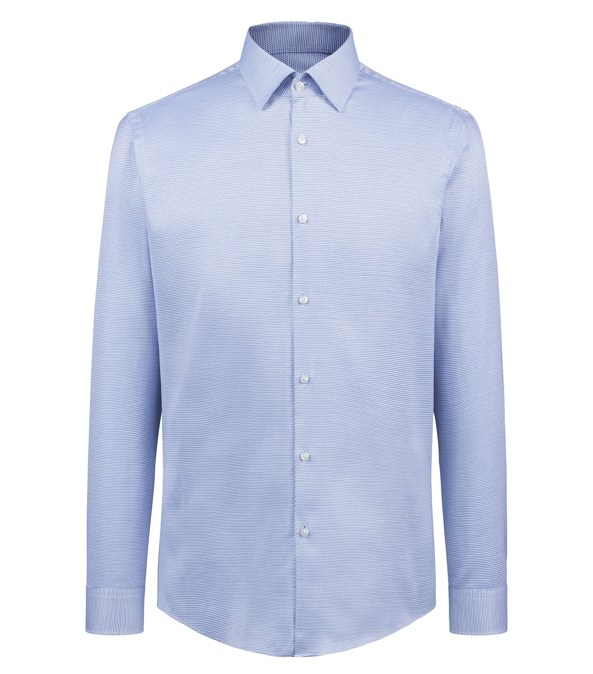 Slim-fit shirt in structured cotton, Blue