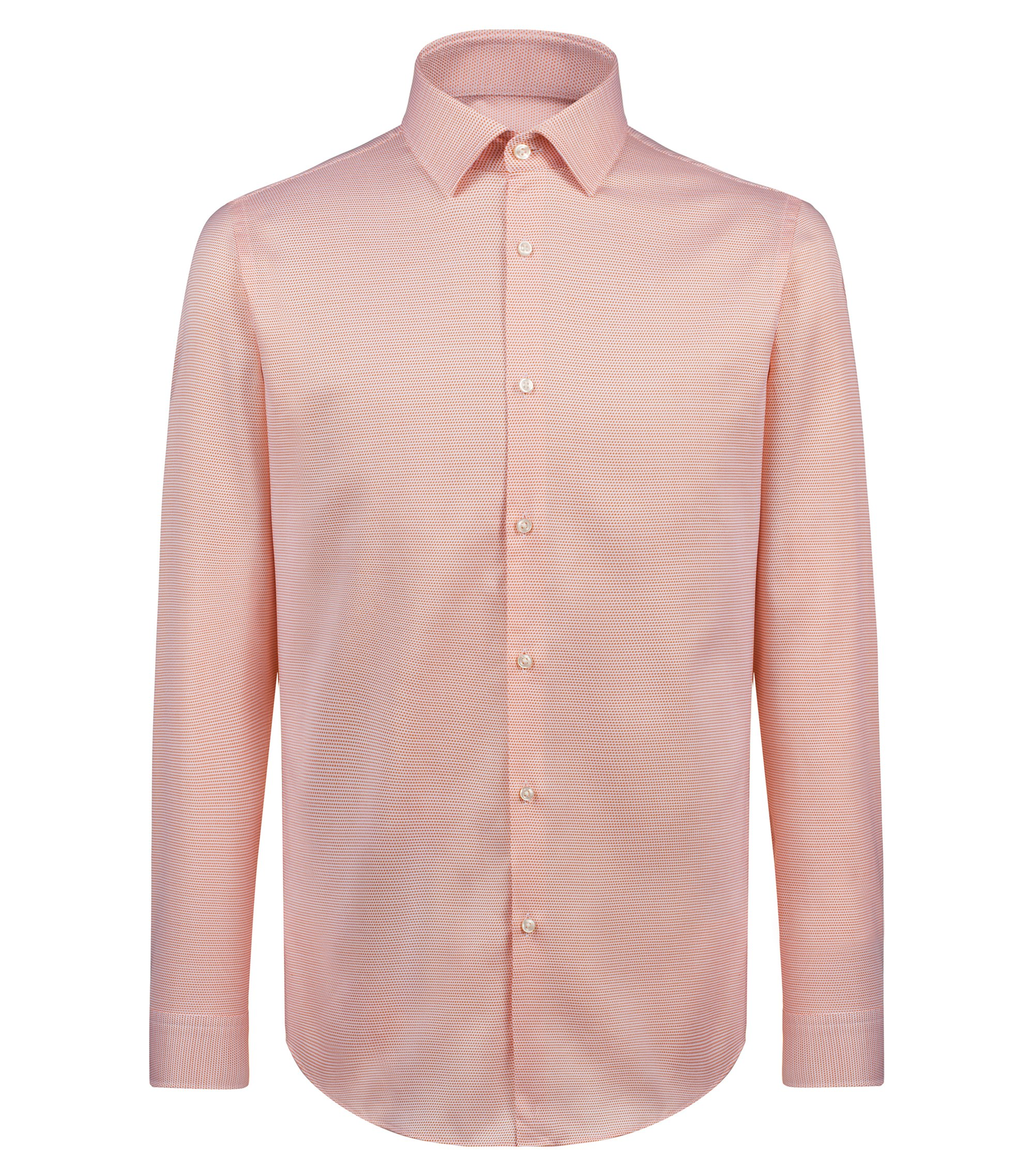 Slim-fit shirt in structured cotton, Orange