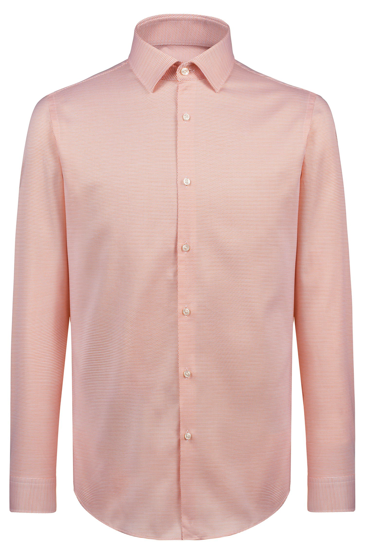 Chemise Slim Fit en coton structuré, Orange