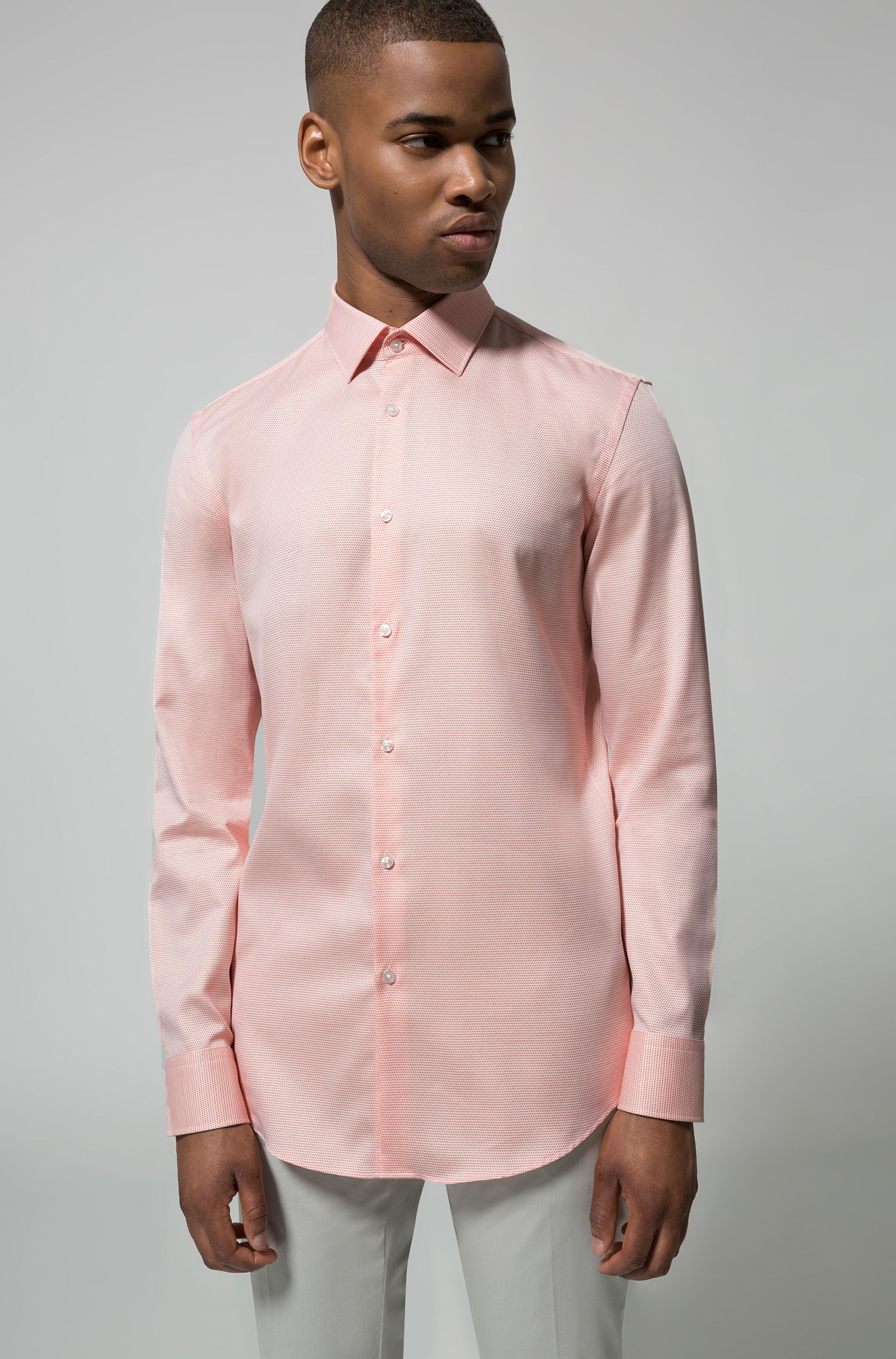 Slim-fit shirt in structured cotton