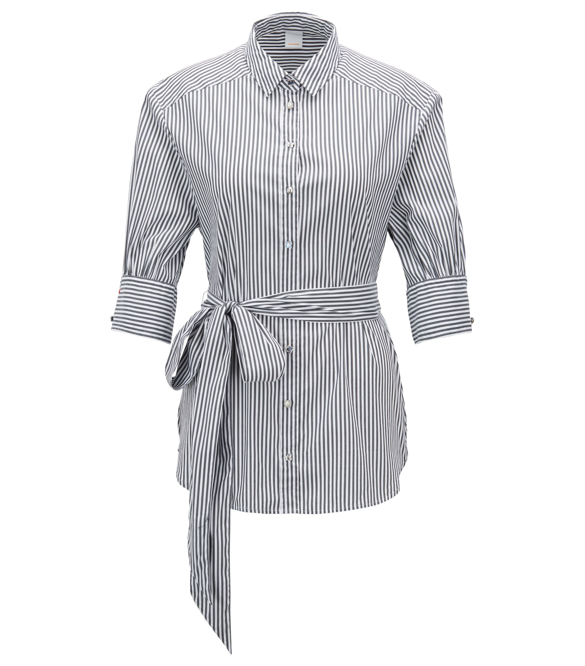 Striped cotton-blend blouse with tie belt, Dark Blue