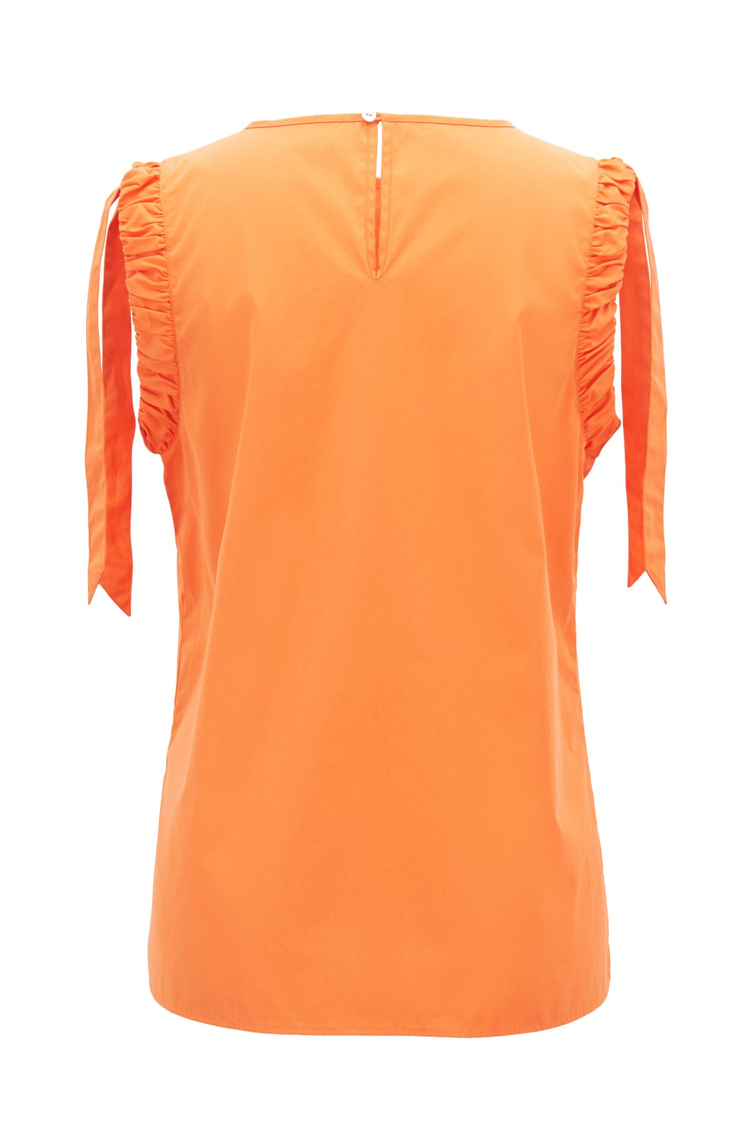 Sleeveless cotton blouse with ruched armholes, Orange