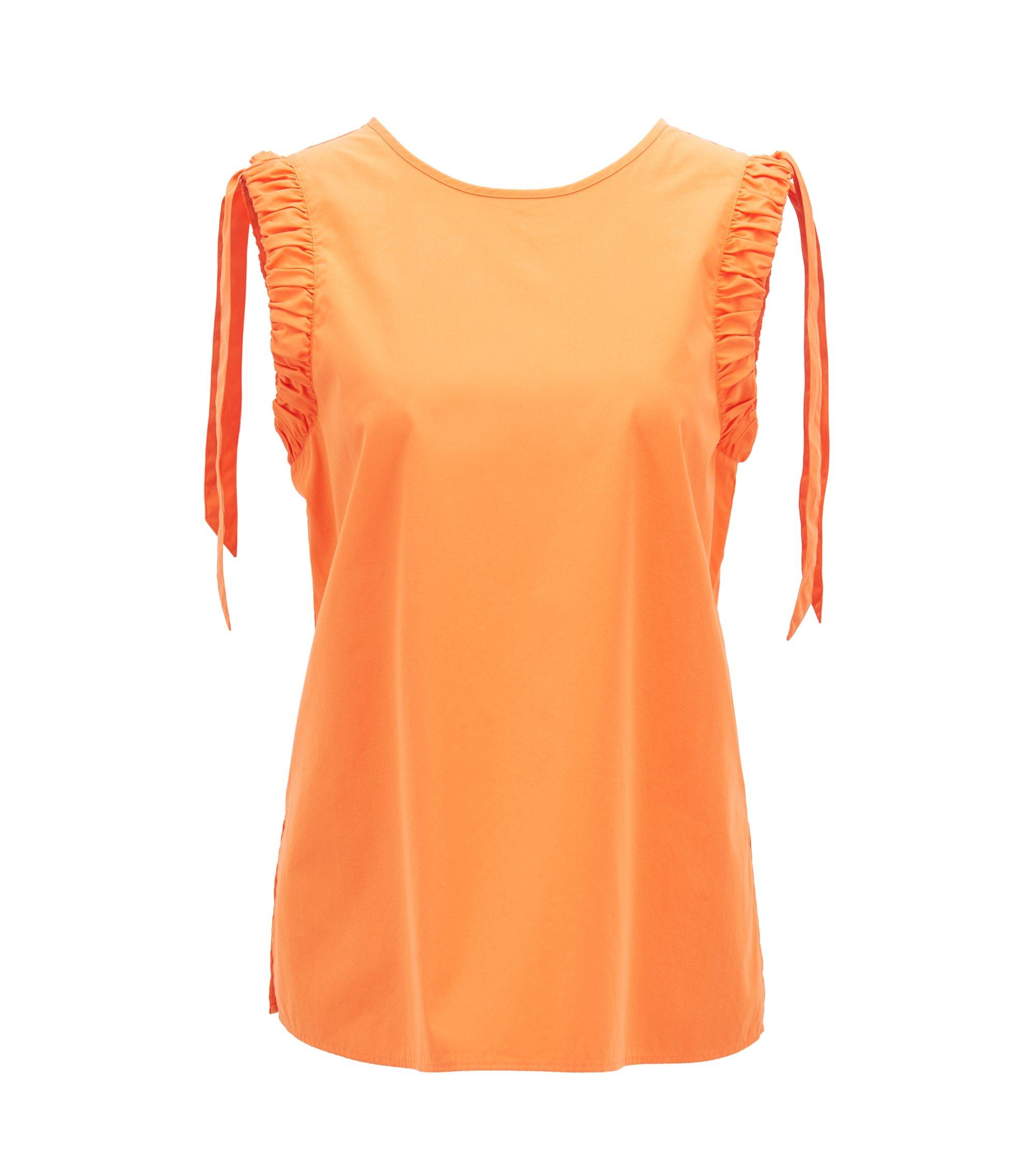 Ärmellose Regular-Fit Bluse aus Baumwolle mit gerafften Armausschnitten, Orange