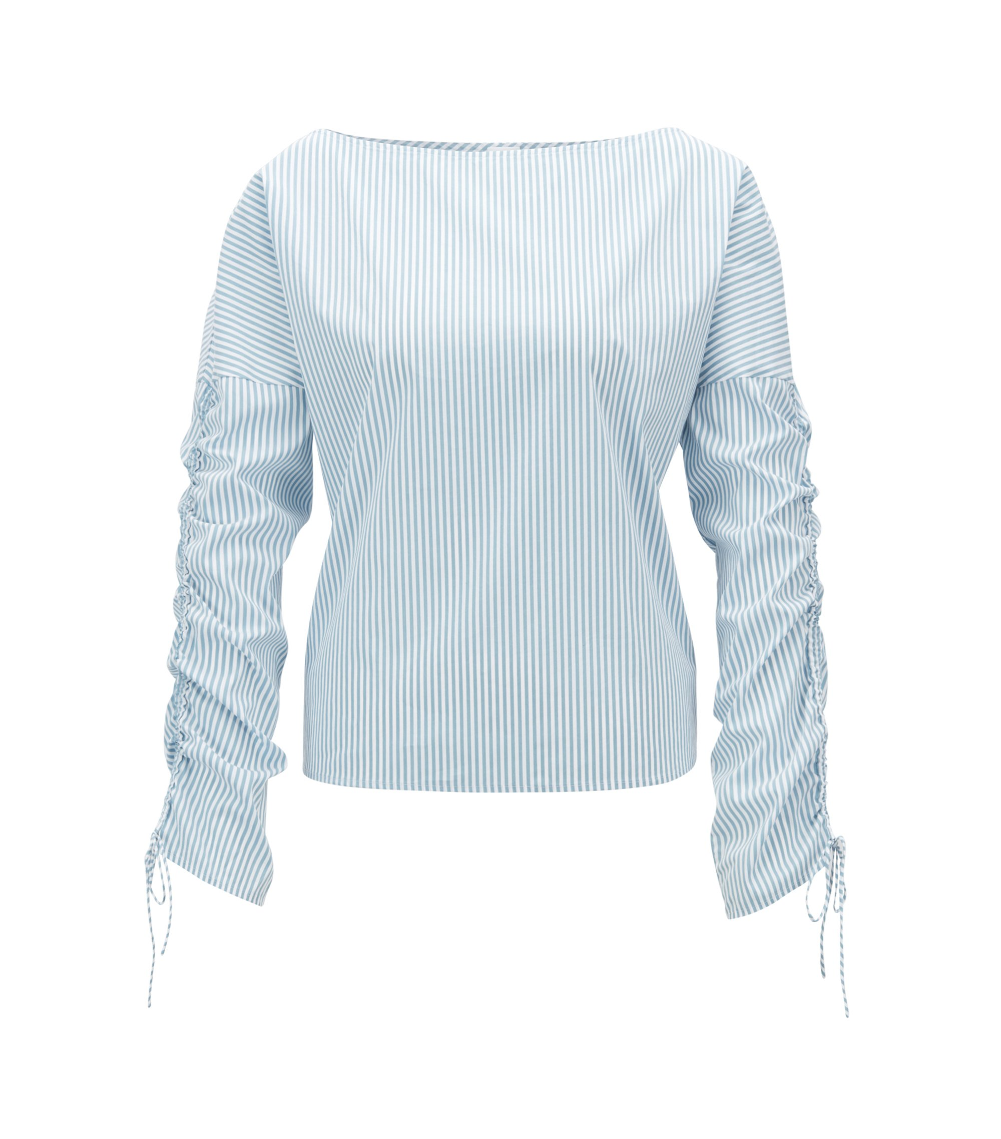 Striped boat-neck blouse with gathered sleeves, Turquoise